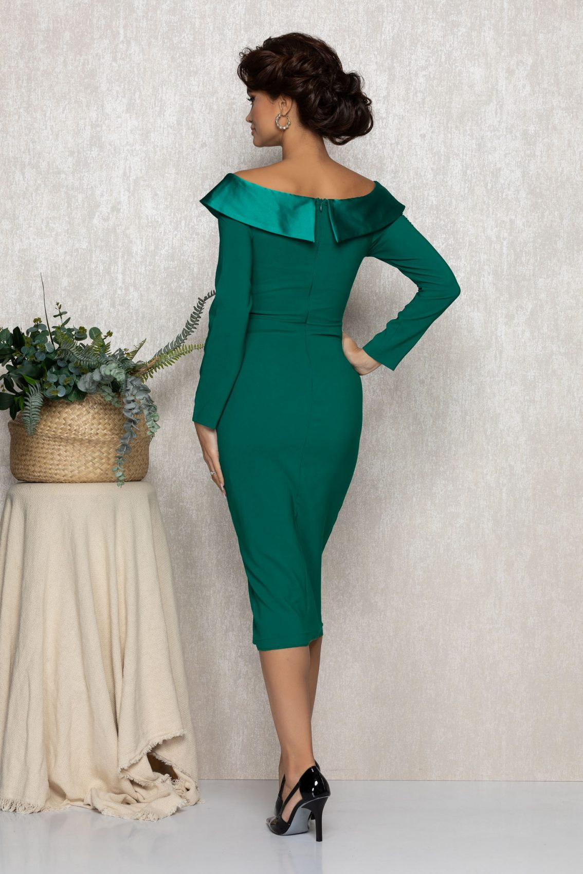 Πράσινο Μίντι Μακρυμάνικο Αμπιγιέ Φόρεμα Felly T167 2