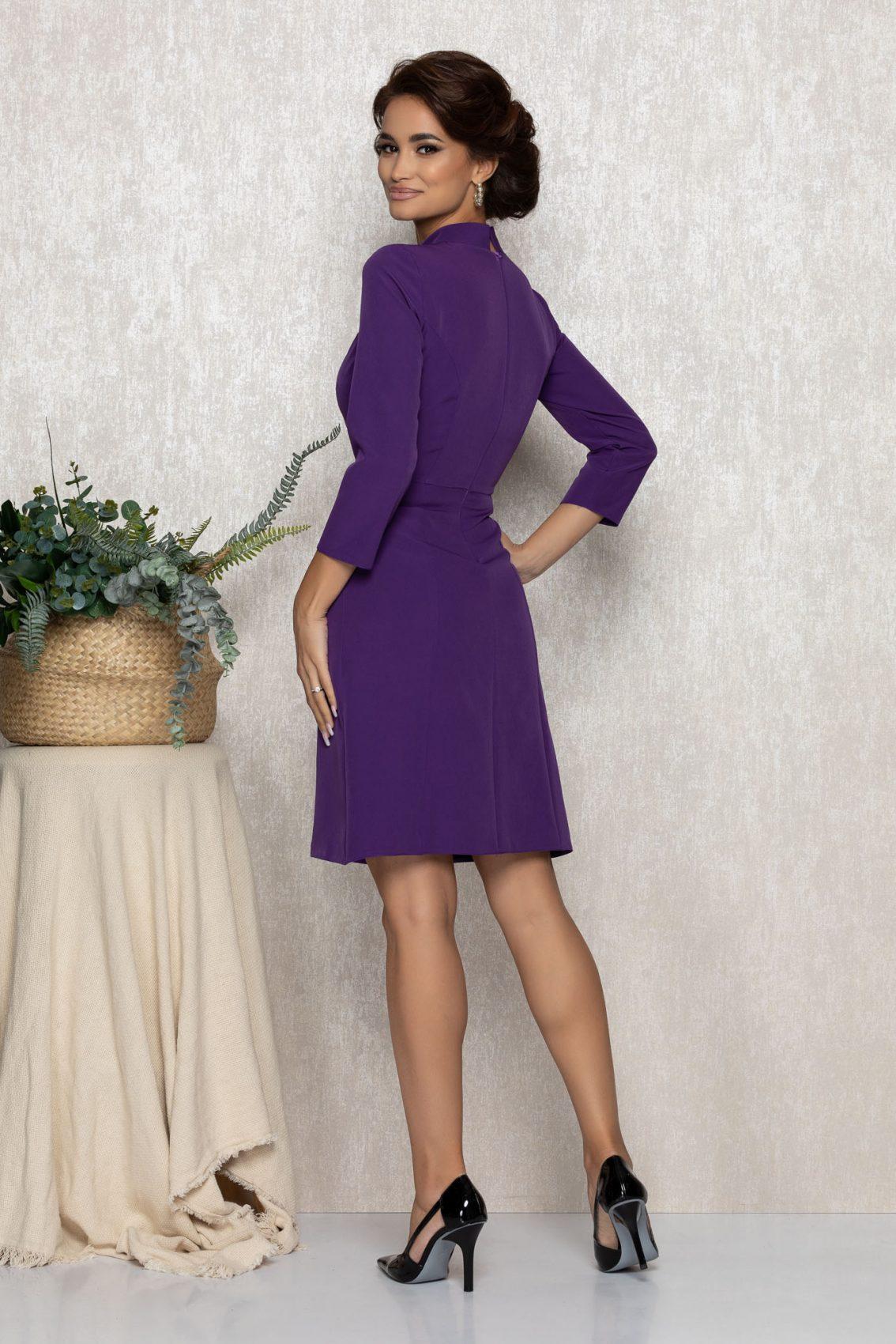 Βιολετί Φόρεμα Με Φιόγκο Cezara T175 2