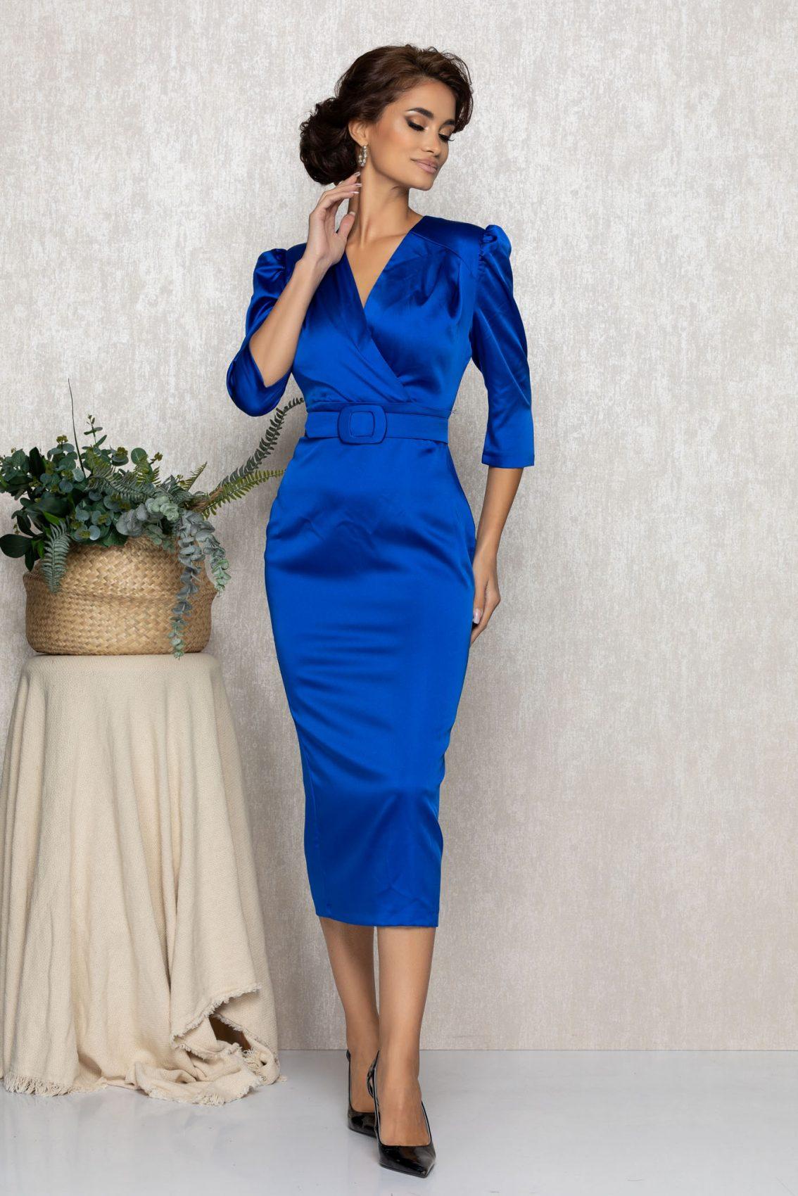 Μπλε Ρουά Σατέν Μίντι Βραδινό Φόρεμα Brillia T171 1