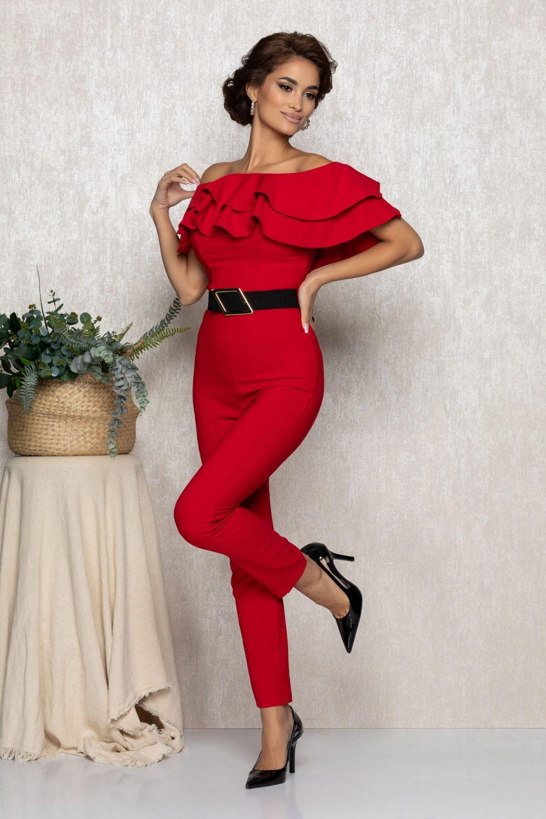 Κόκκινη Αμπιγιέ Ολόσωμη Φόρμα Με Βολάν Sheyla T158 1