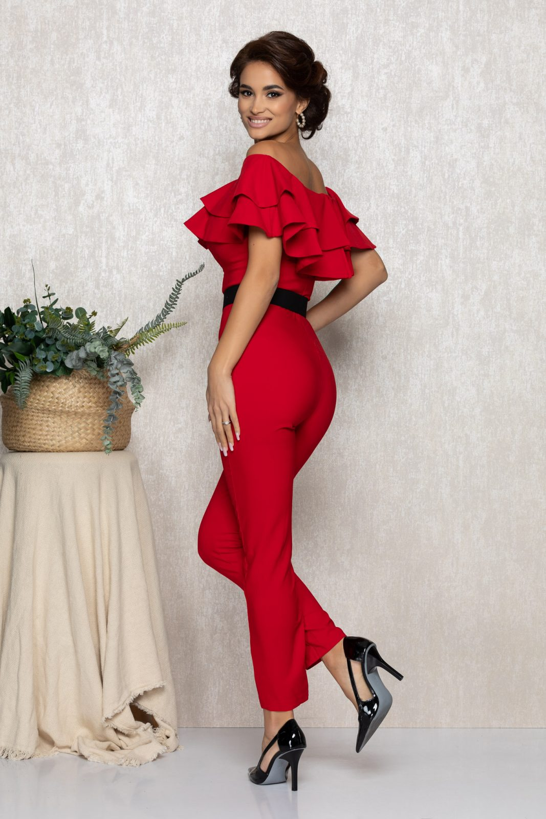 Κόκκινη Αμπιγιέ Ολόσωμη Φόρμα Με Βολάν Sheyla T158 2