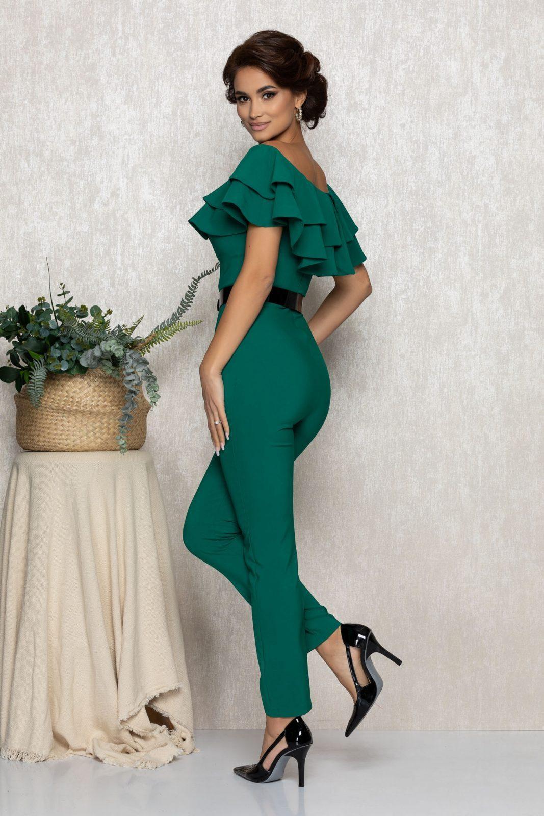 Πράσινη Αμπιγιέ Ολόσωμη Φόρμα Με Βολάν Sheyla T161 2
