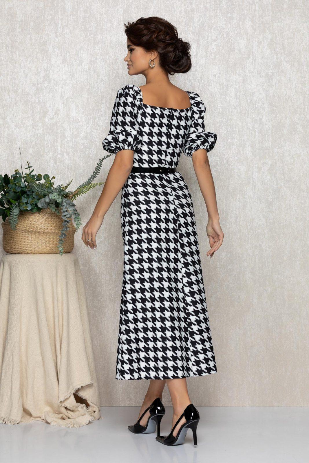 Ασπρόμαυρο Μίντι Φόρεμα Tyanna T164 2