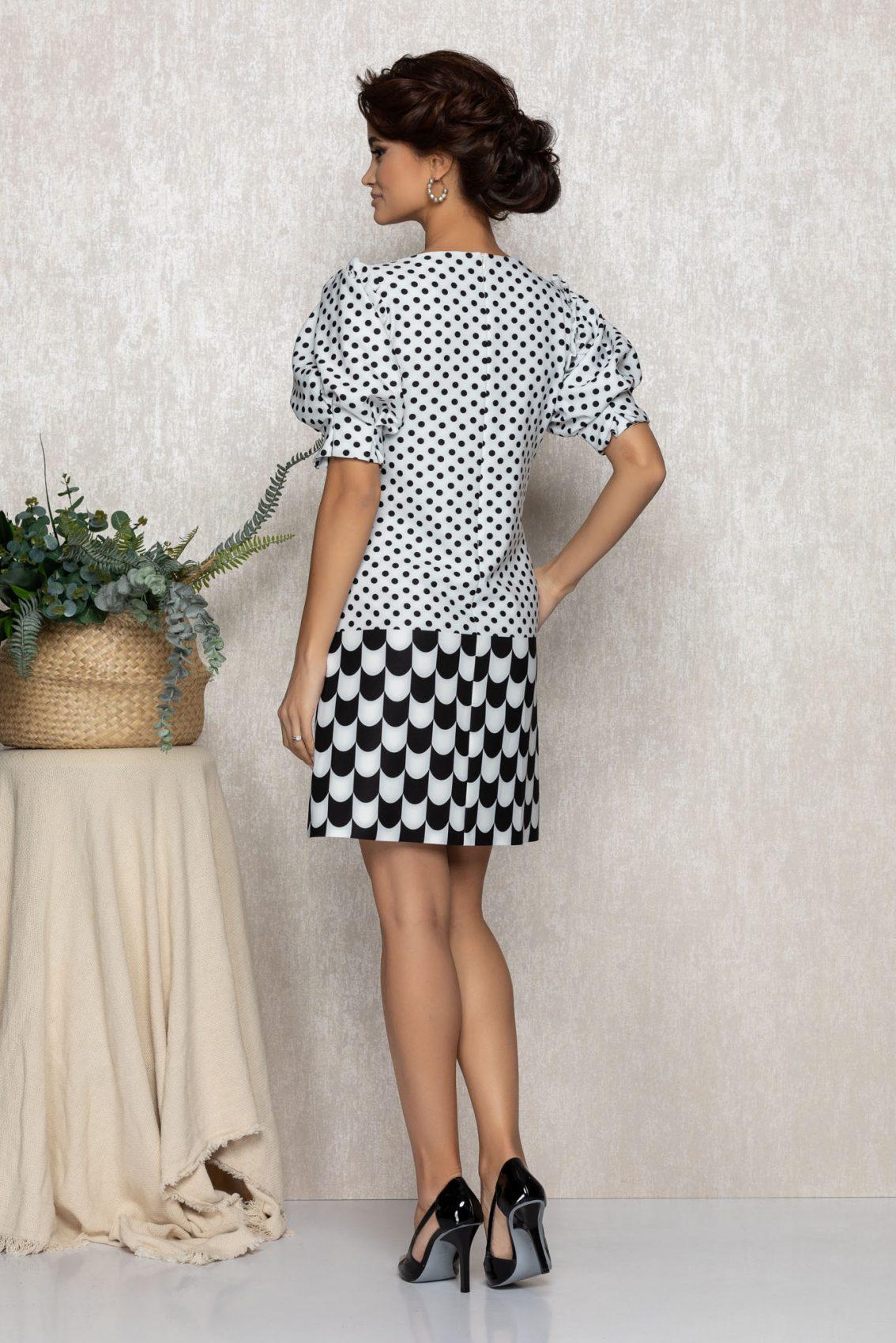 Ασπρόμαυρο Μίνι Φόρεμα Kristen T231 2