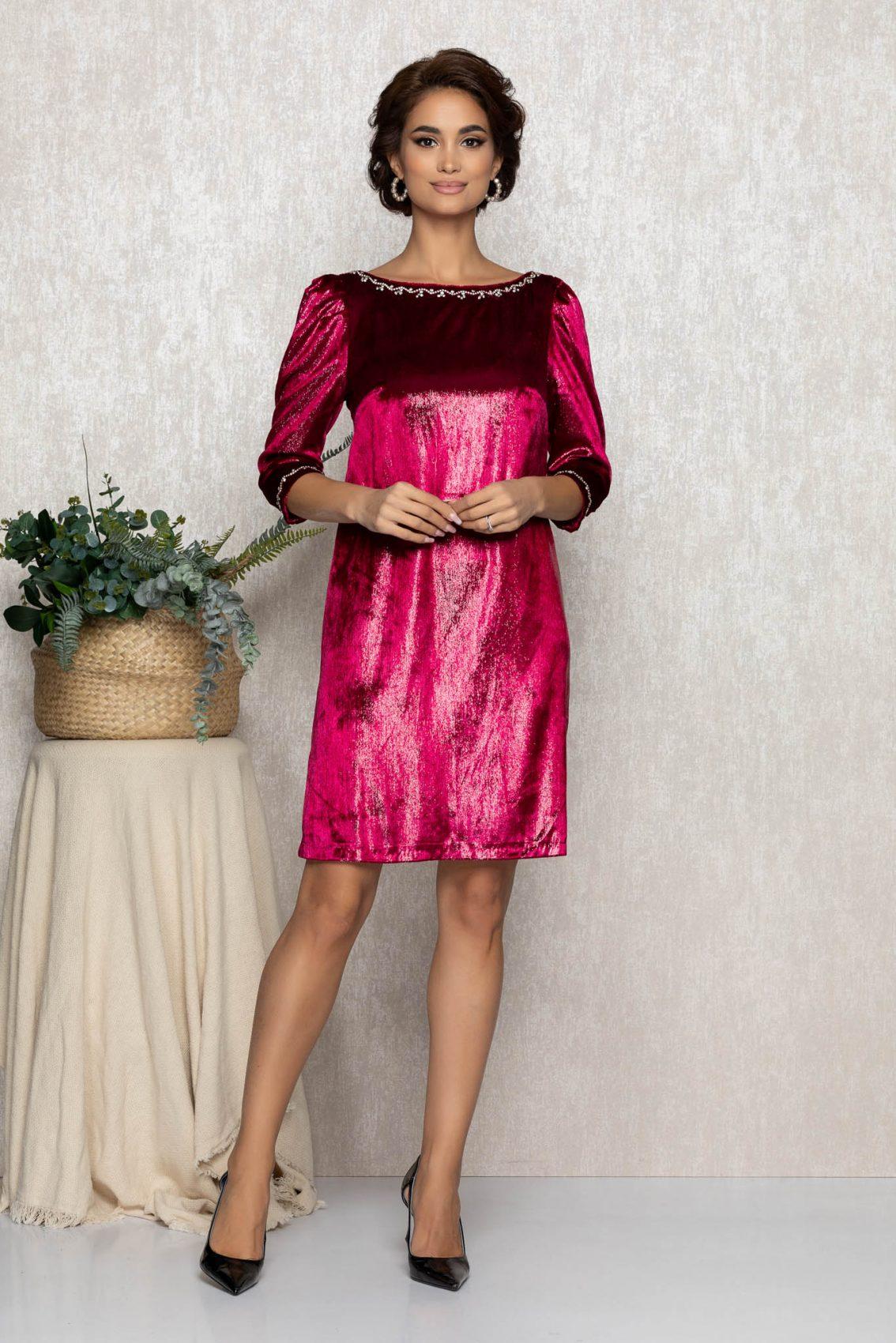 Φούξια Φόρεμα Από Βελούδο Nikita T224 1