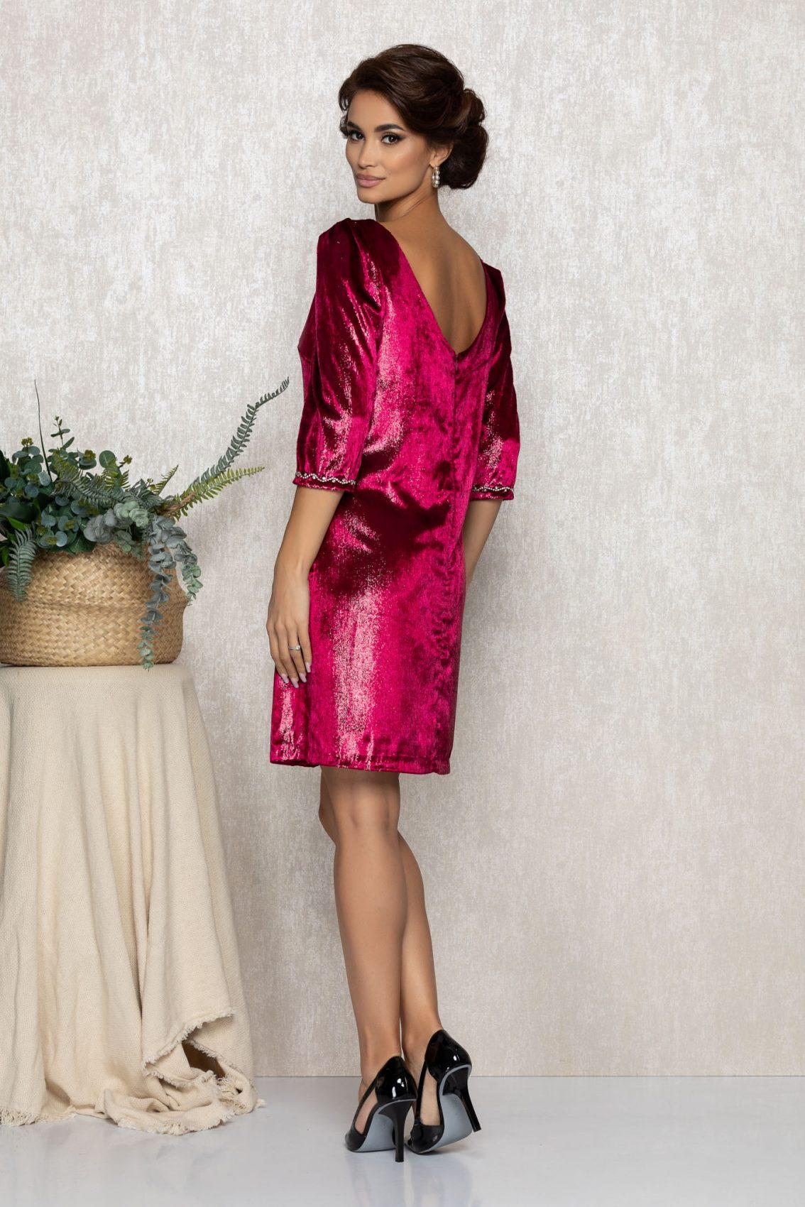 Φούξια Φόρεμα Από Βελούδο Nikita T224 2