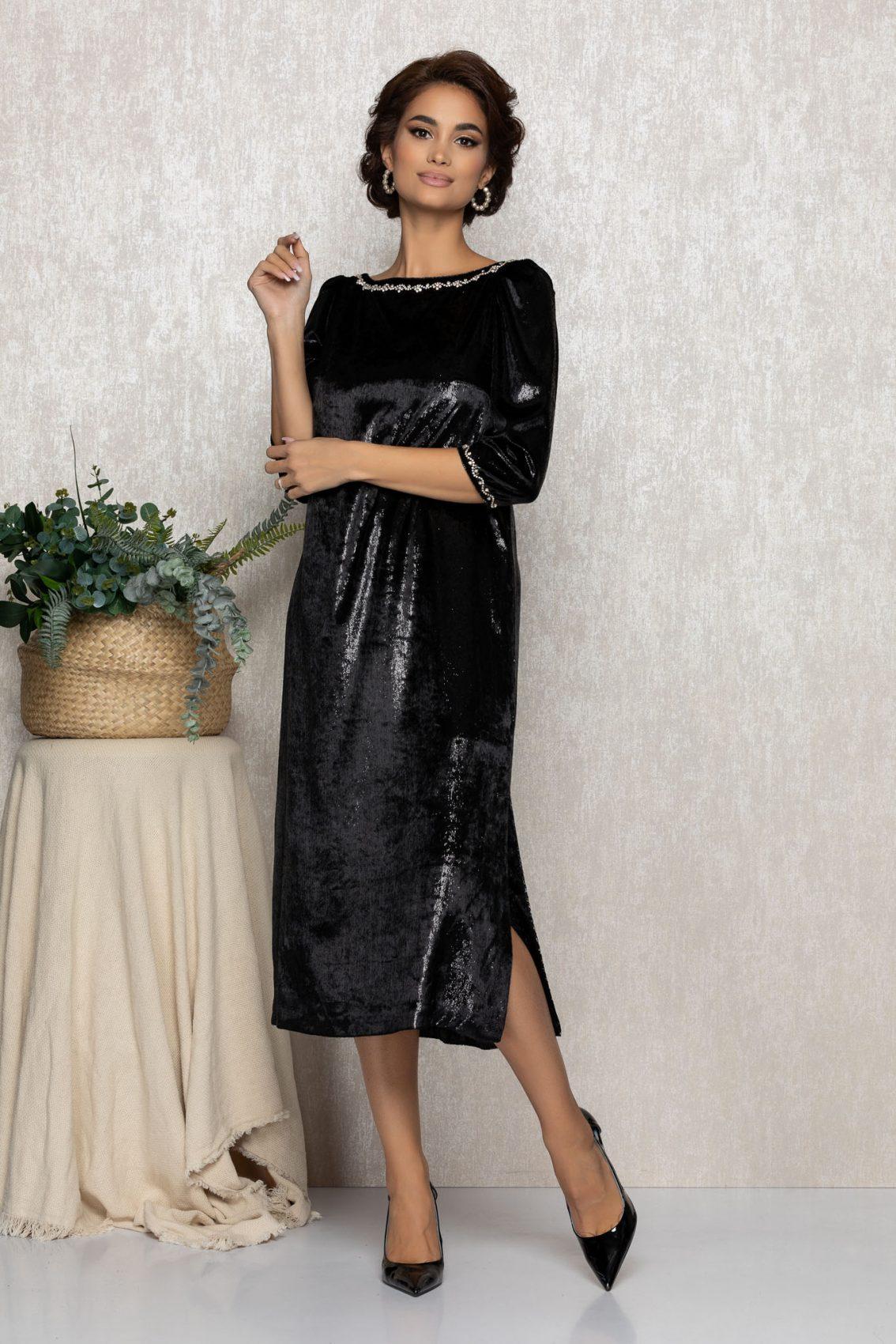 Μαύρο Μίντι Φόρεμα Από Βελούδο Ginette T206 1