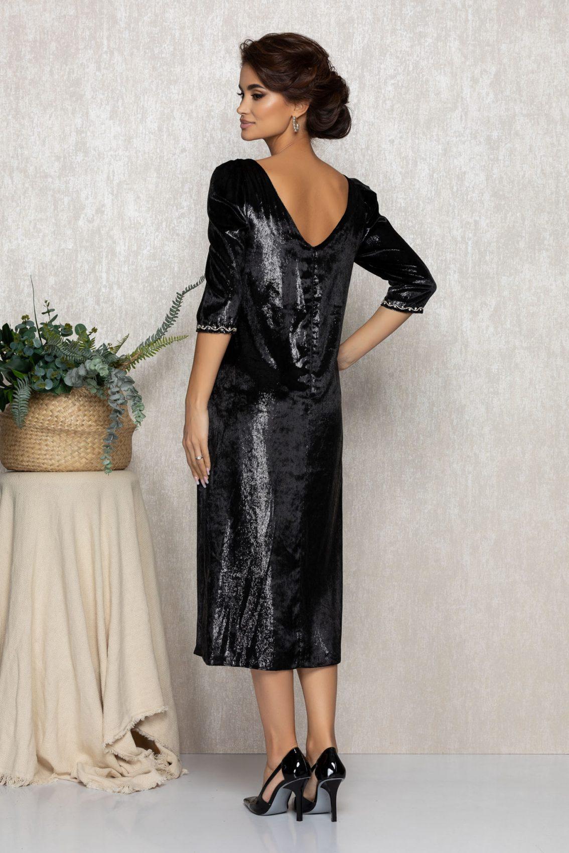 Μαύρο Μίντι Φόρεμα Από Βελούδο Ginette T206 2