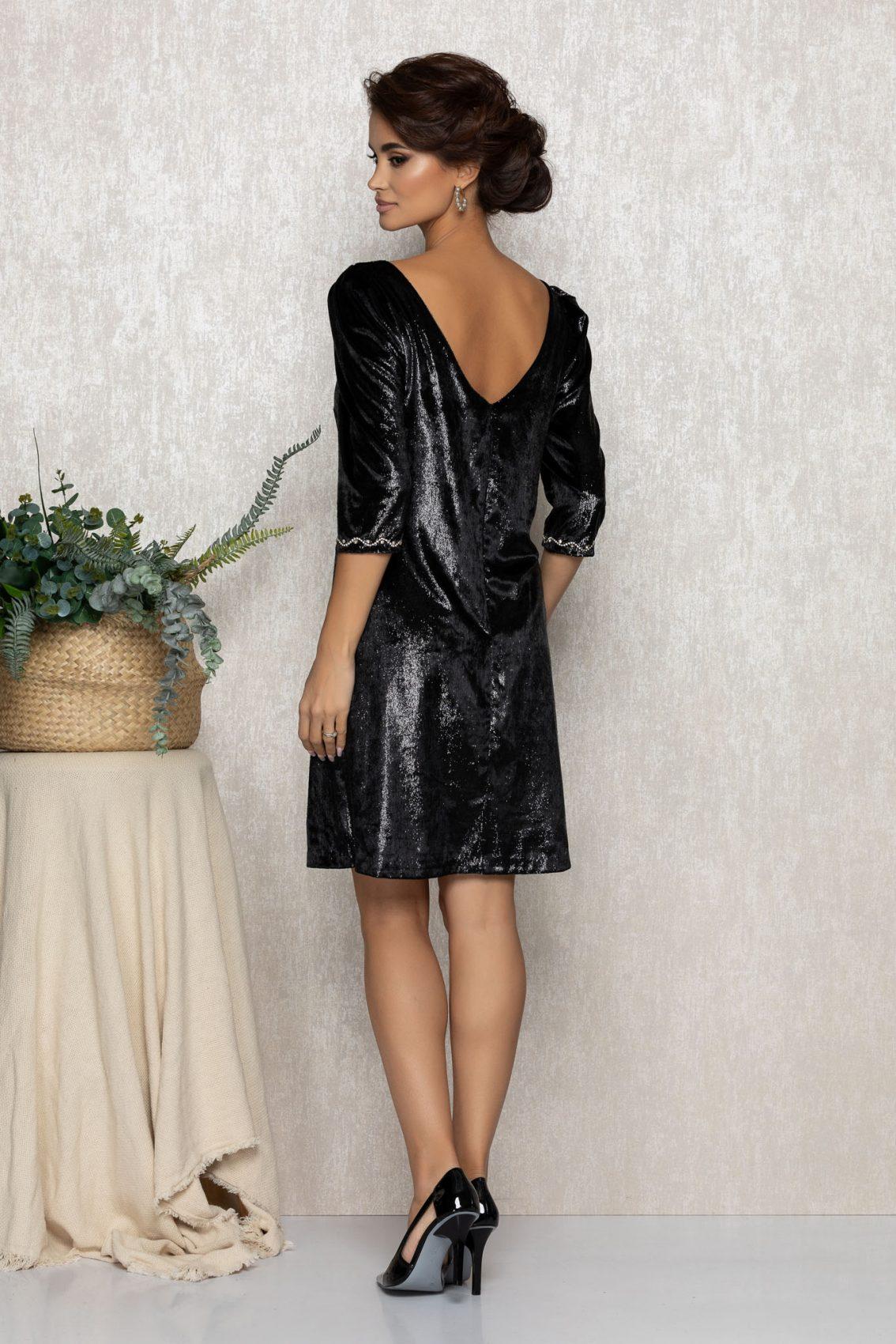 Μαύρο Φόρεμα Από Βελούδο Nikita T223 2