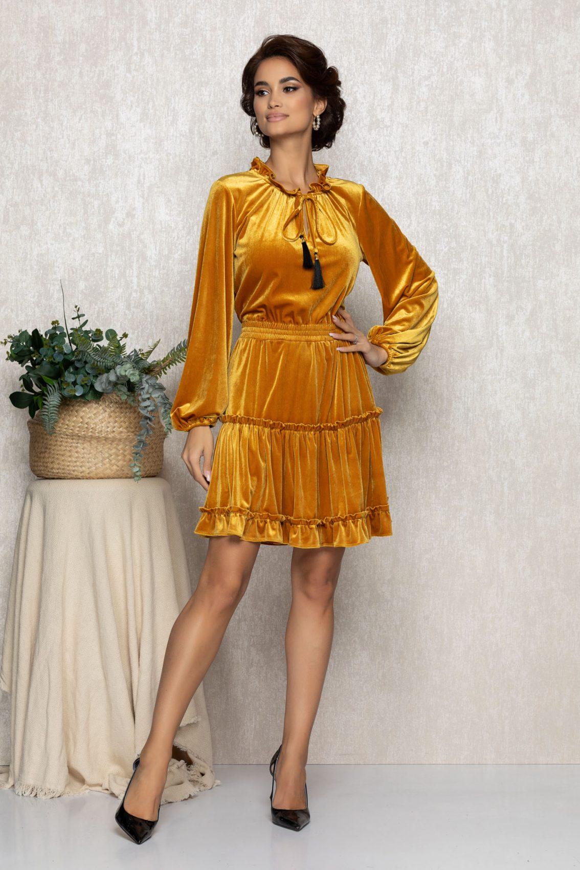 Μουσταρδί Φόρεμα Από Βελούδο Irma T227 1