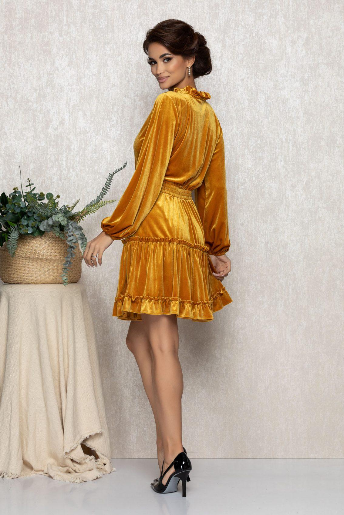 Μουσταρδί Φόρεμα Από Βελούδο Irma T227 2
