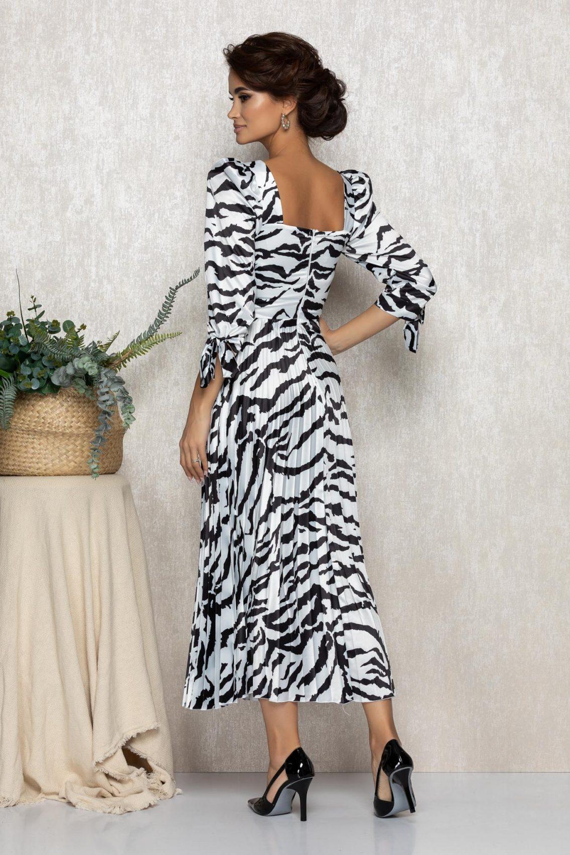Ασπρόμαυρο Σατέν Μίντι Πλισέ Βραδινό Φόρεμα Rowa T220 2
