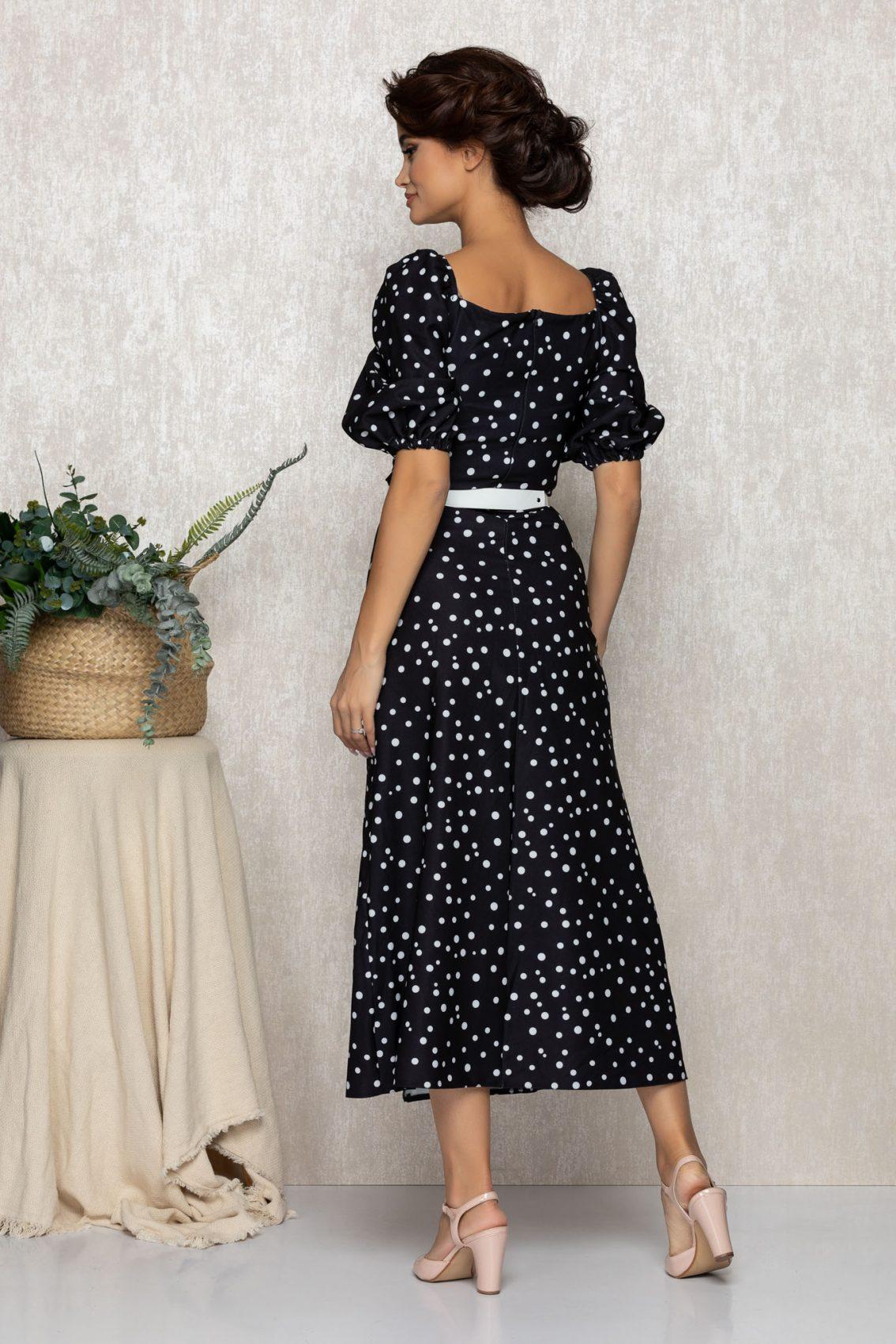 Μαύρο Πουά Μίντι Φόρεμα Tyanna T166 2