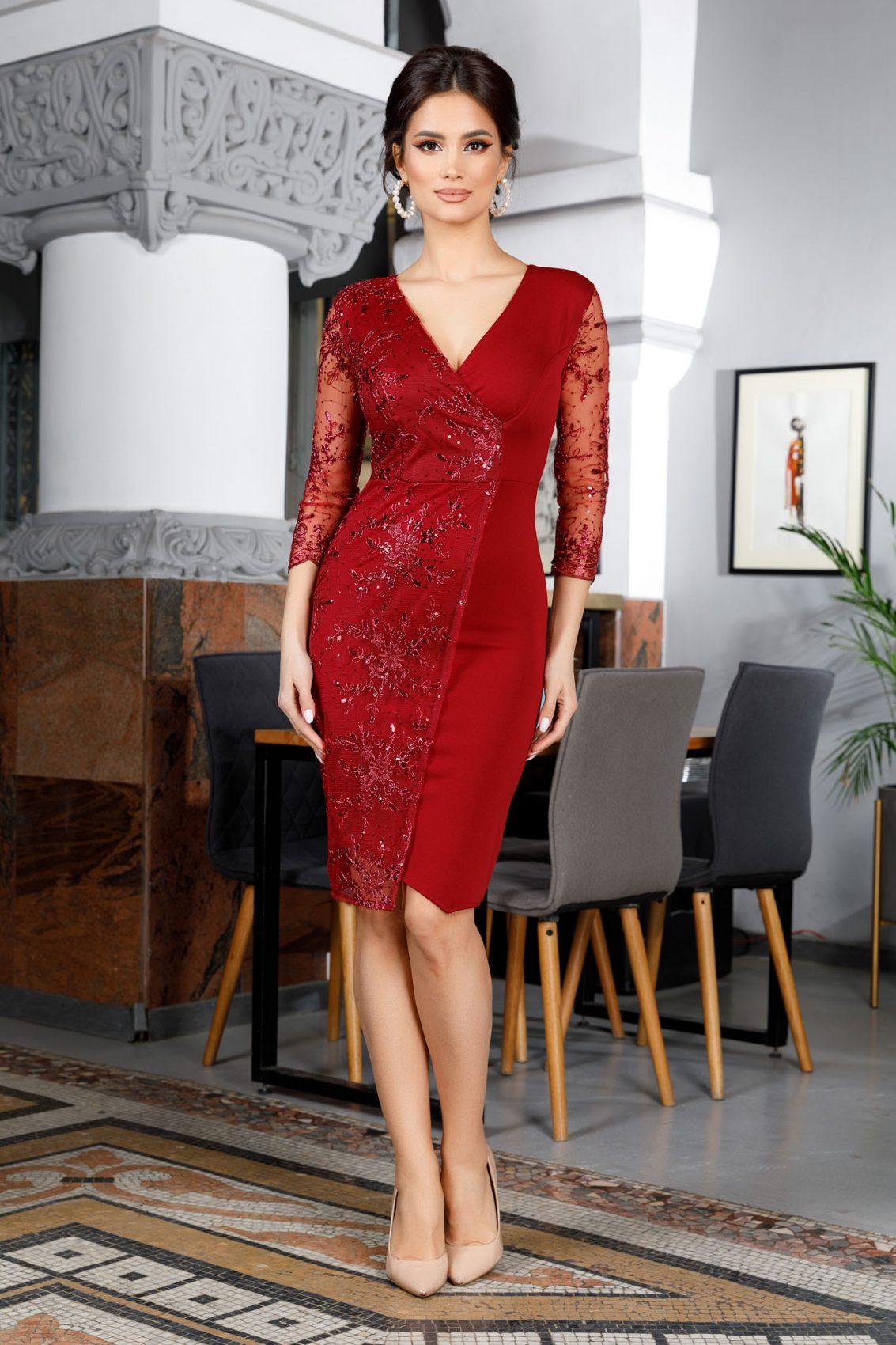 Μπορντό Κρουαζέ Φόρεμα Verona 5981 4