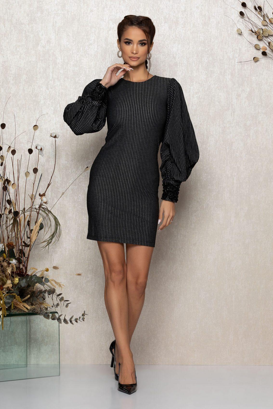 Μαύρο Φόρεμα Με Φουσκωτά Μανίκια Jennifer 9437 3