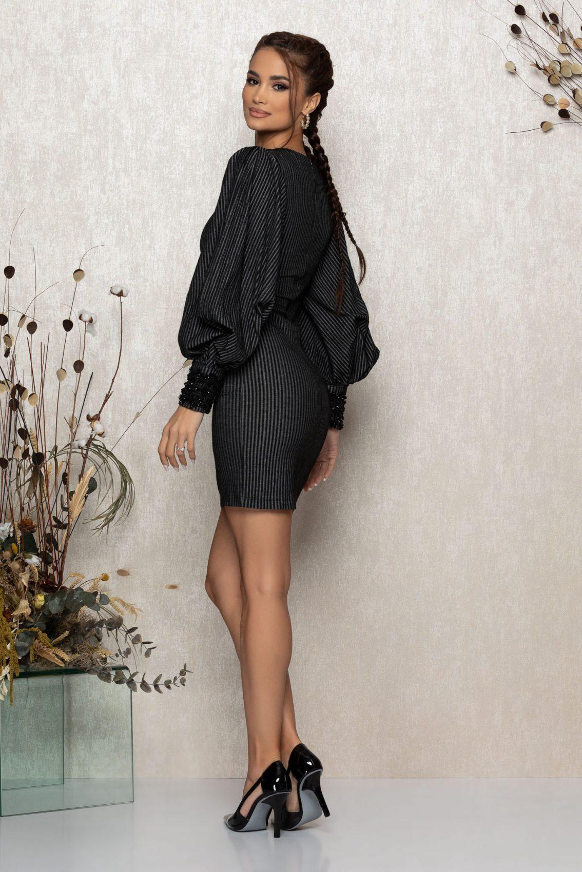 Μαύρο Φόρεμα Με Φουσκωτά Μανίκια Jennifer 9437 2