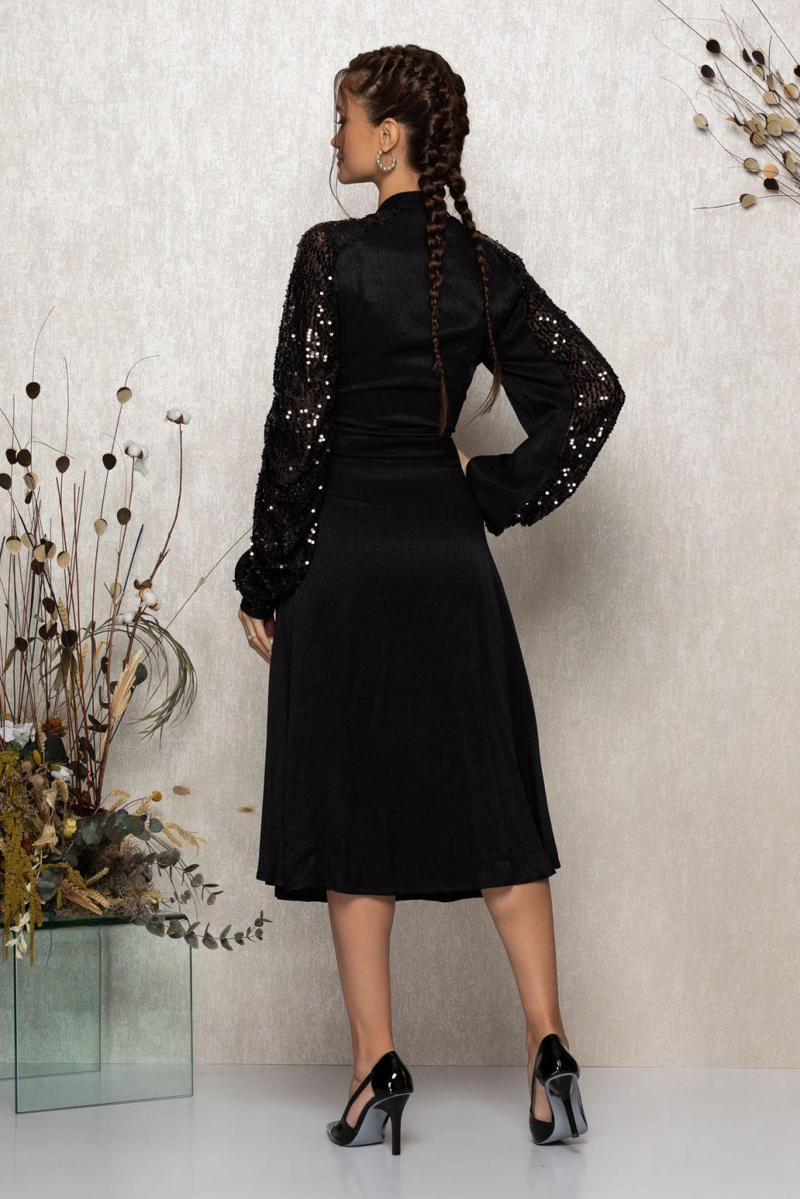 Μαύρο Μίντι Βραδινό Φόρεμα Με Φιόγκο Lovely T345 2