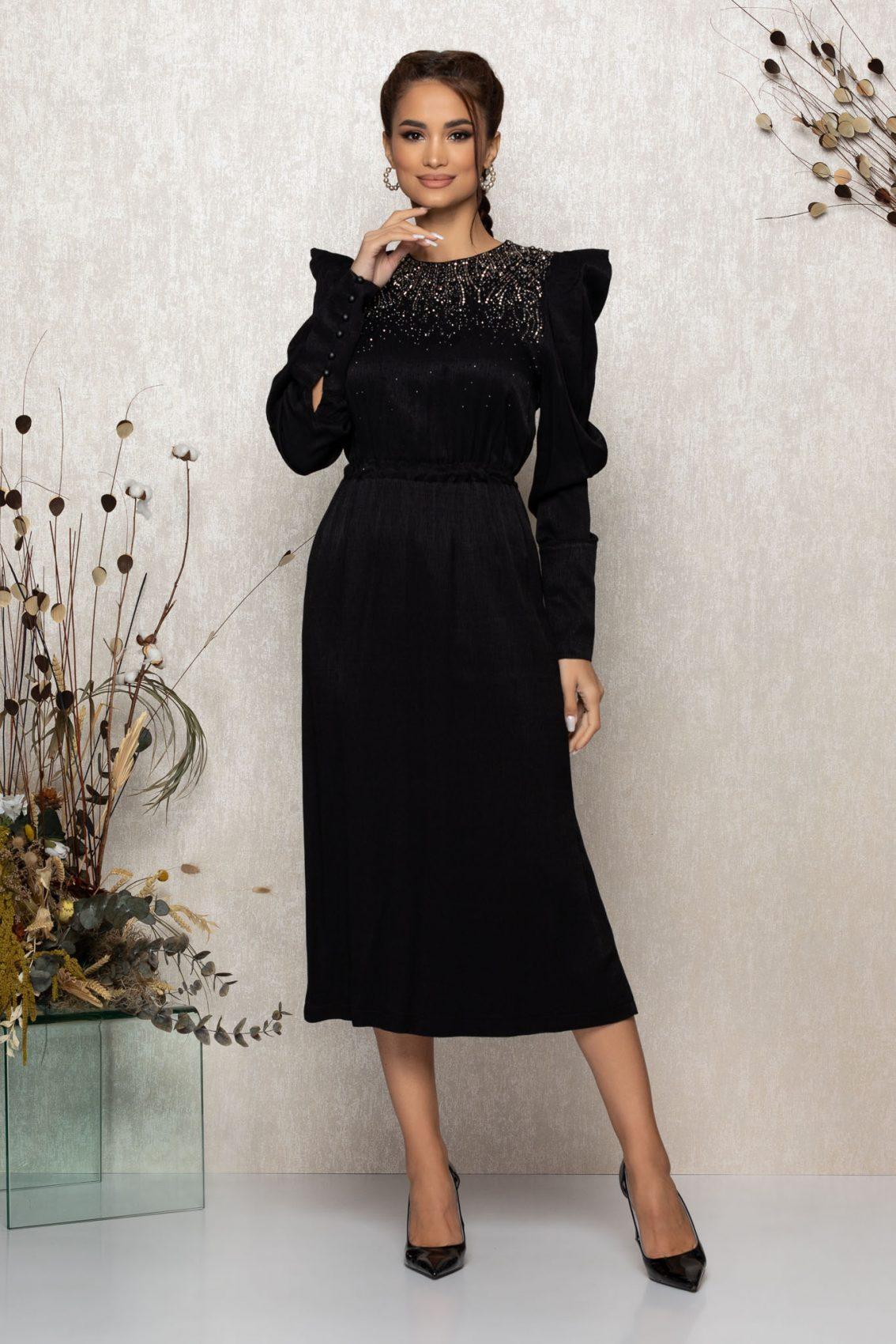 Μαύρο Μίντι Μακρυμάνικο Βραδινό Φόρεμα Brisha T346 3