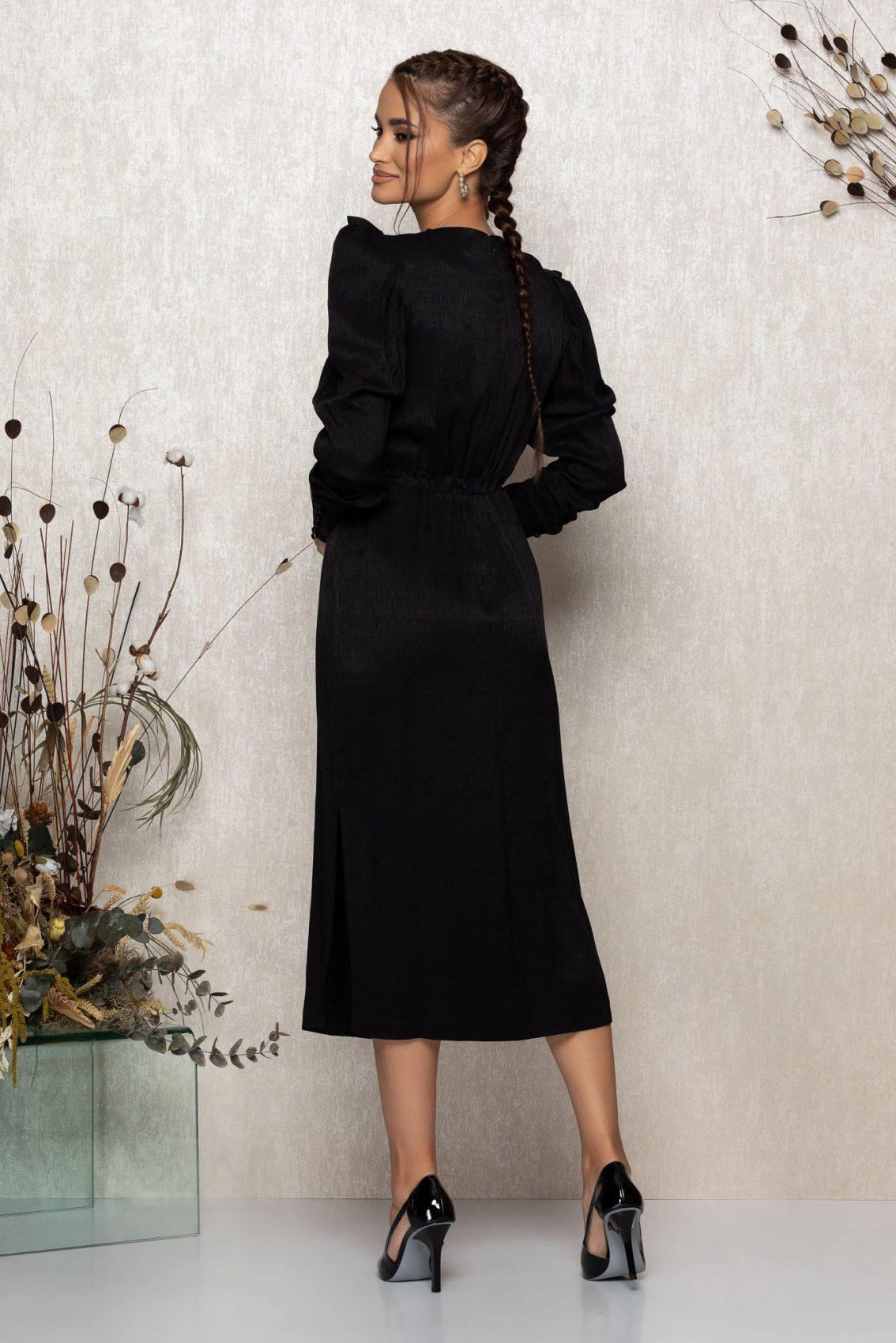 Μαύρο Μίντι Μακρυμάνικο Βραδινό Φόρεμα Brisha T346 4