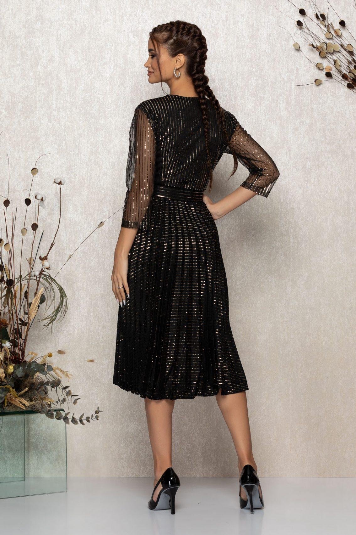 Μίντι Μαύρο Βραδινό Πλισέ Φόρεμα Delilah T382 2