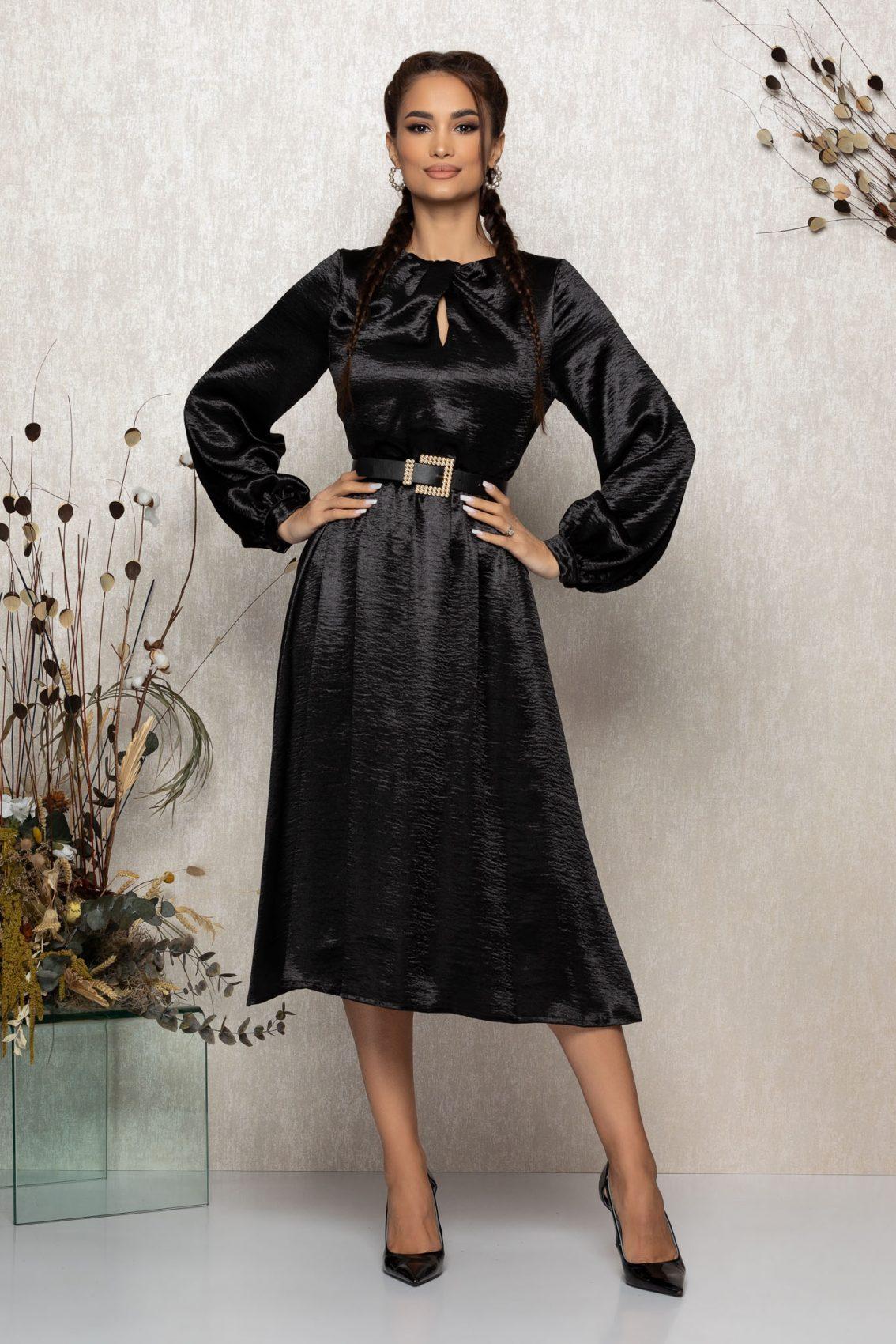 Μαύρο Μίντι Σατέν Κλος Φόρεμα Zephira T336 1