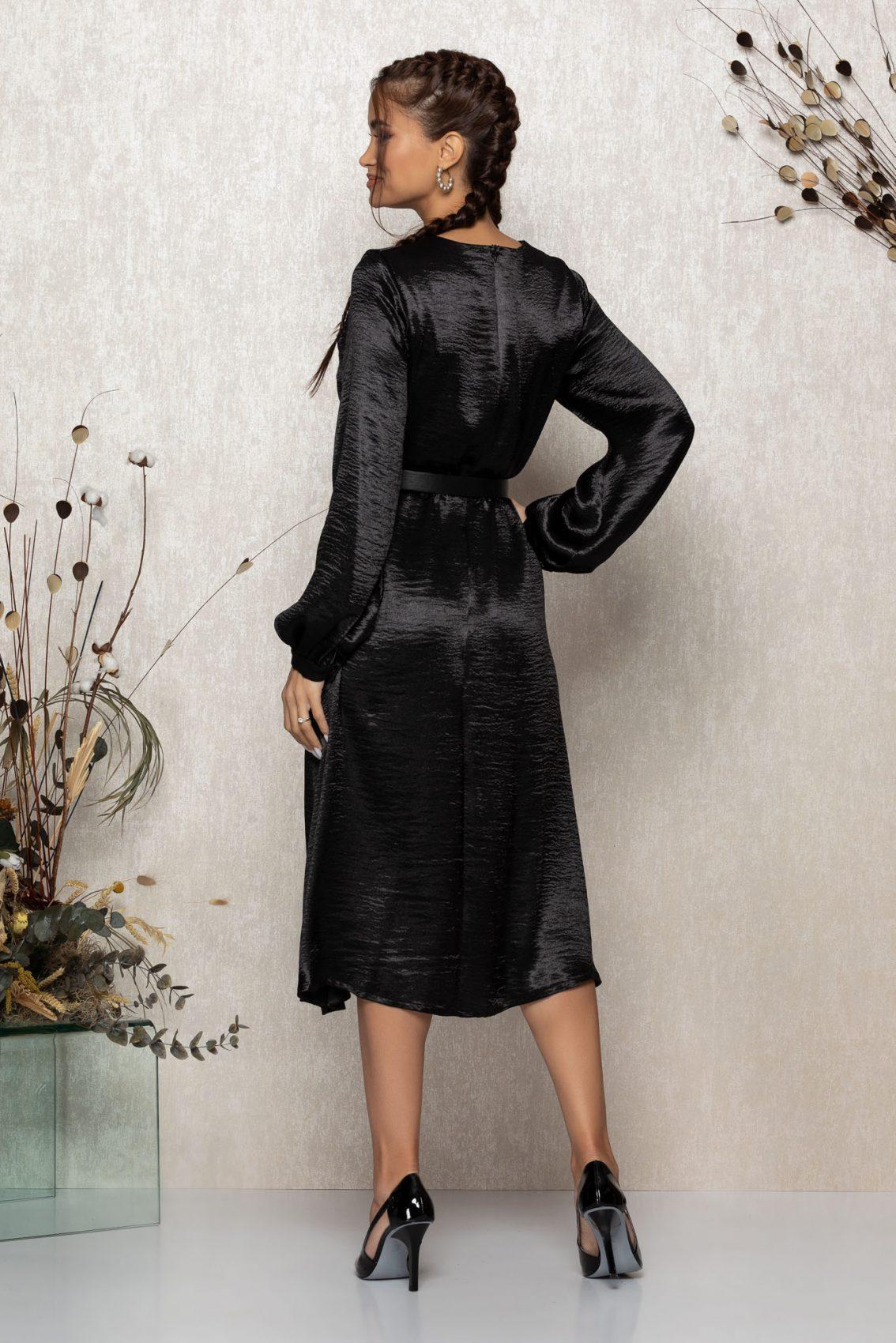 Μαύρο Μίντι Σατέν Κλος Φόρεμα Zephira T336 2