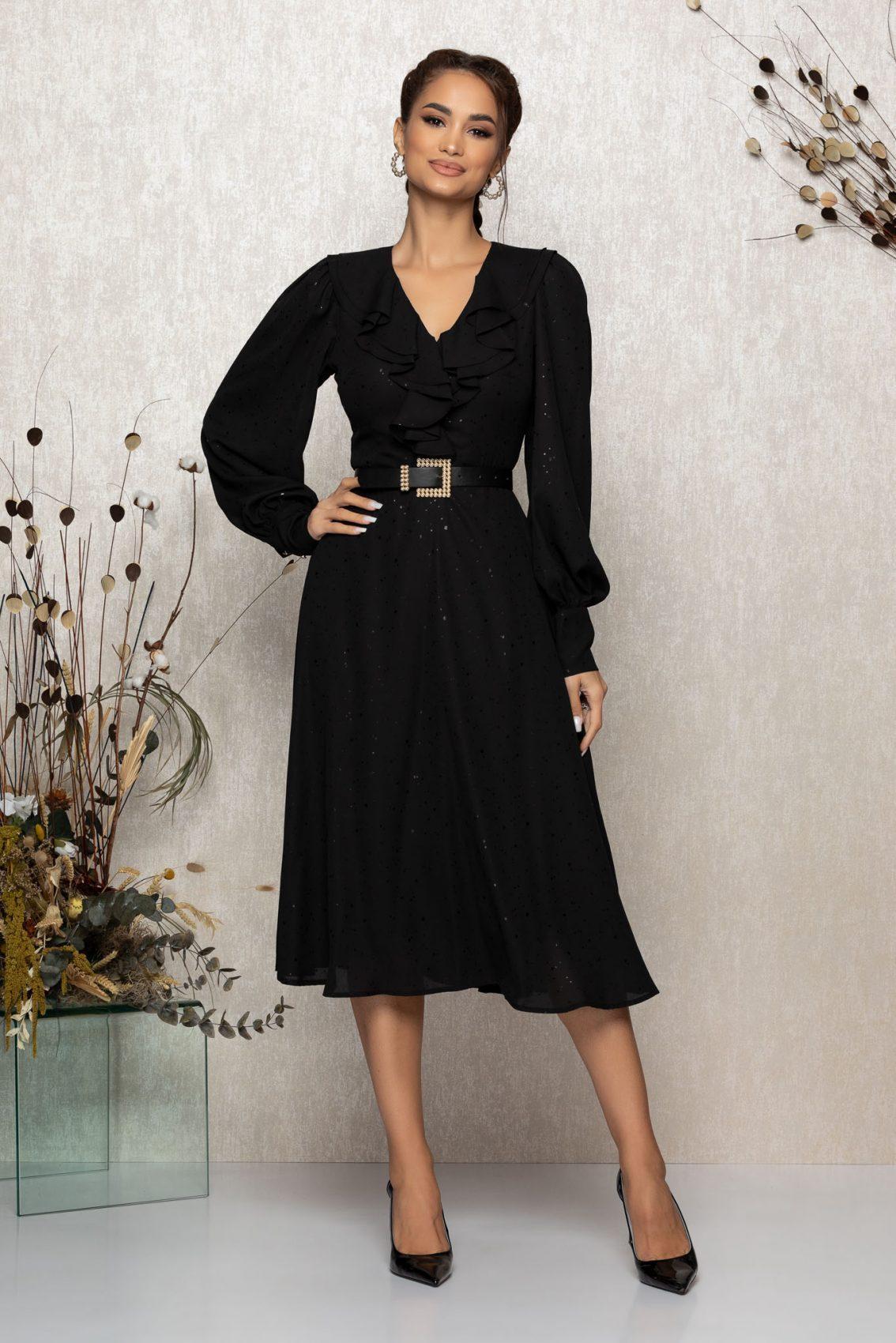 Μαύρο Μίντι Βραδινό Φόρεμα Με Βολάν Lysandra T341 1