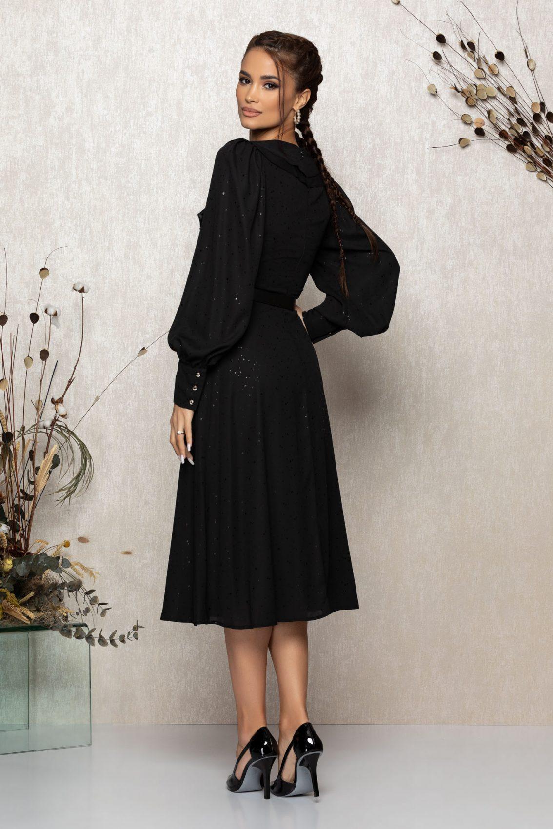 Μαύρο Μίντι Βραδινό Φόρεμα Με Βολάν Lysandra T341 2