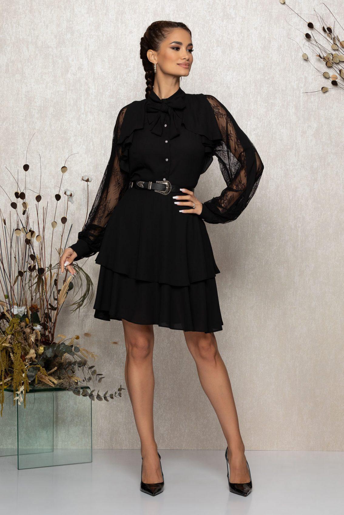 Μαύρο Βραδινό Φόρεμα Με Δαντέλα Senna T343 1