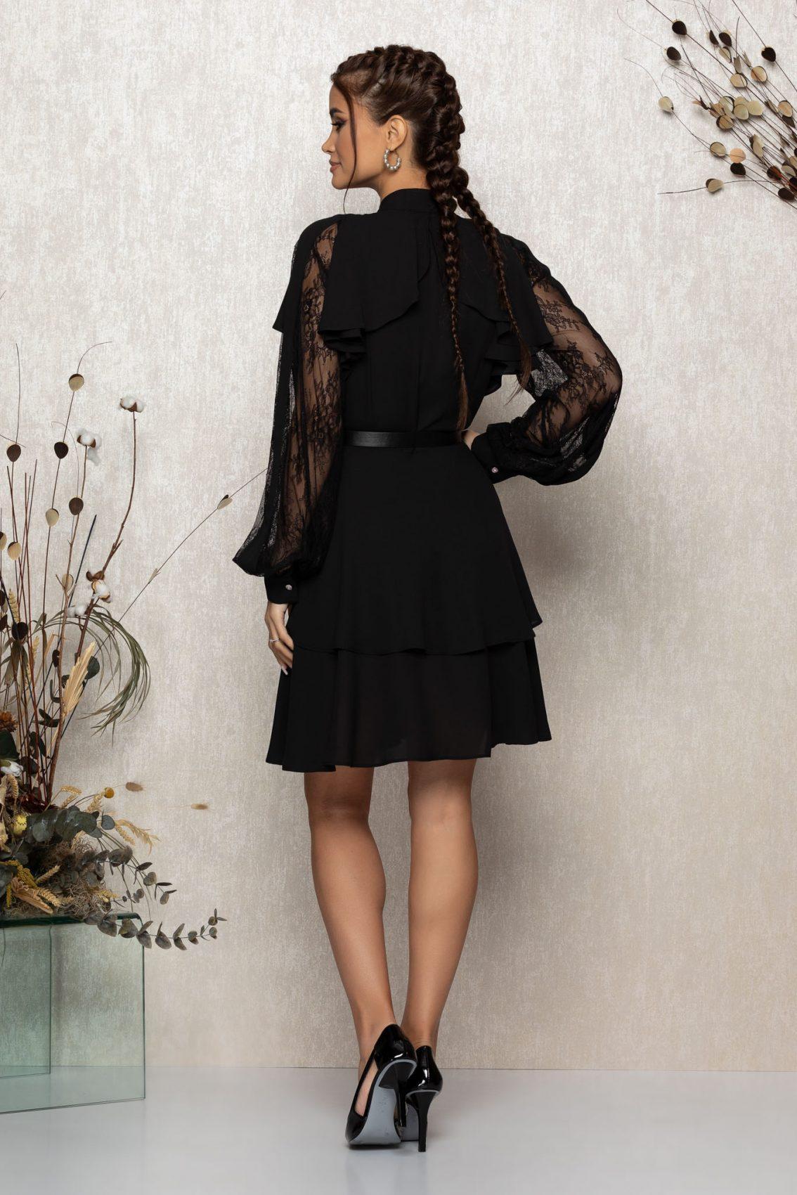 Μαύρο Βραδινό Φόρεμα Με Δαντέλα Senna T343 2