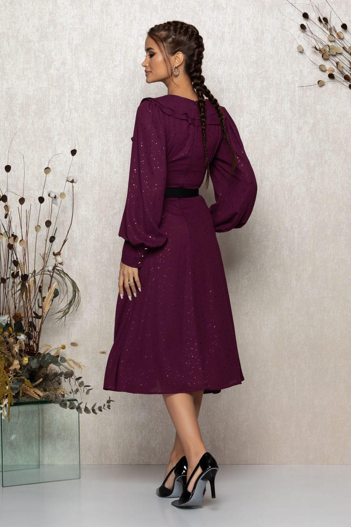 Βιολετί Μίντι Βραδινό Φόρεμα Με Βολάν Lysandra T340 2