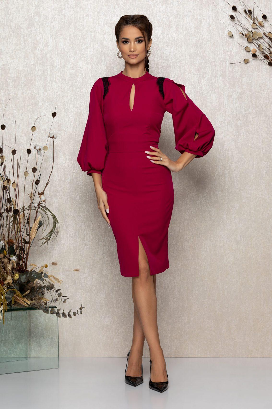 Κυκλάμινο Μίντι Βραδινό Φόρεμα Irina T355 1