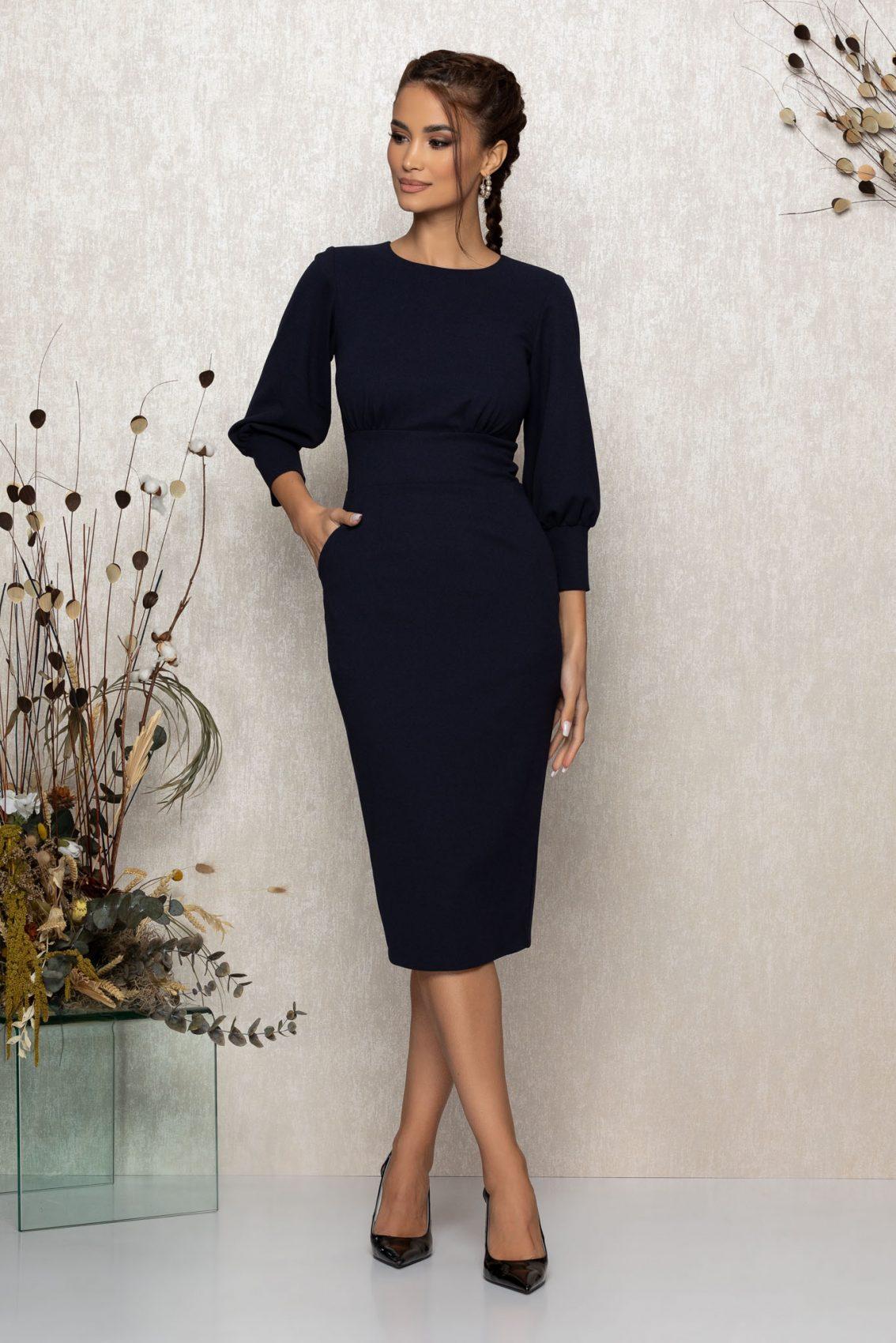 Μπλε Μίντι Εφαρμοστό Φόρεμα Zaya T349 1