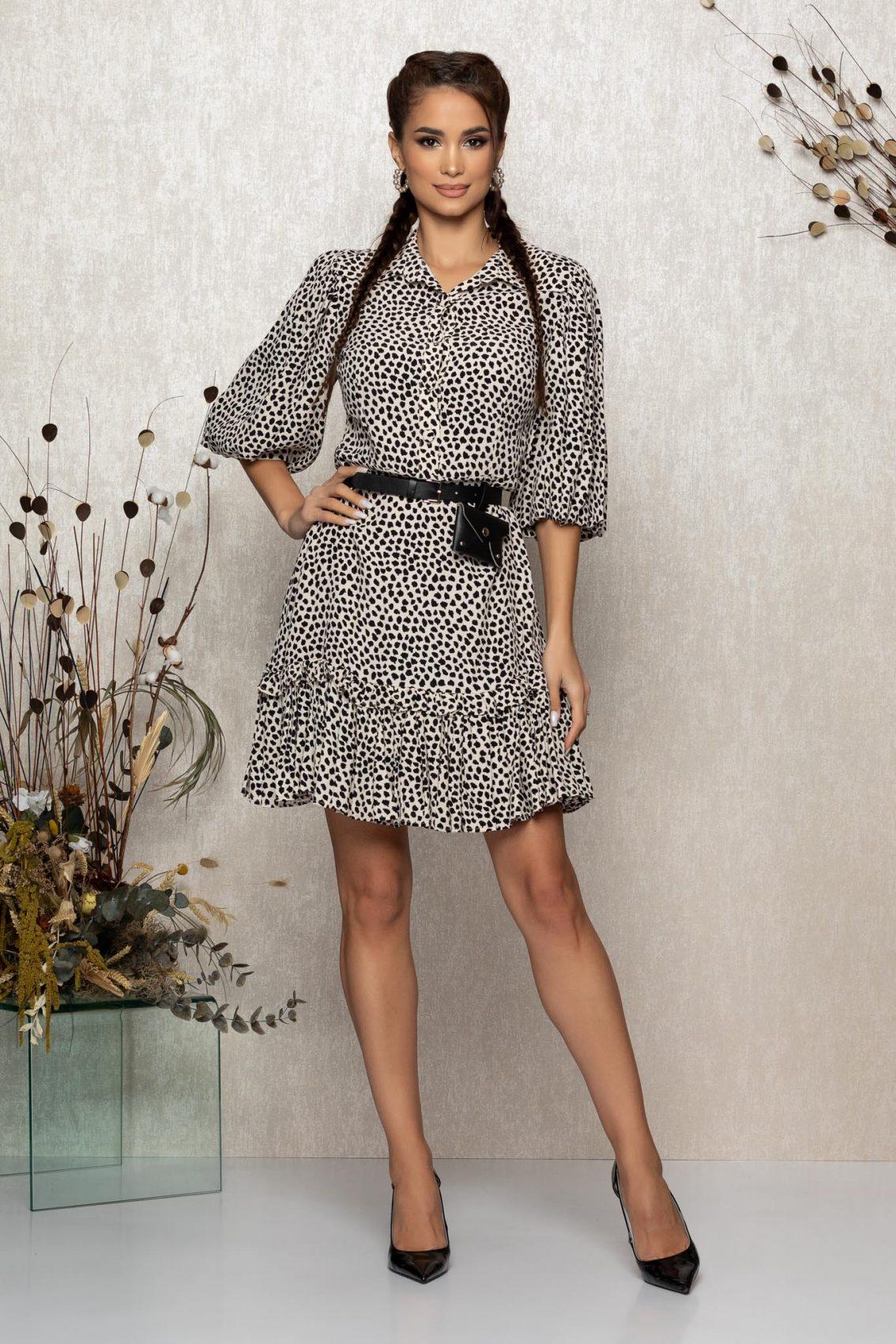 Μπεζ Animal Print Φόρεμα Debbie T347 1