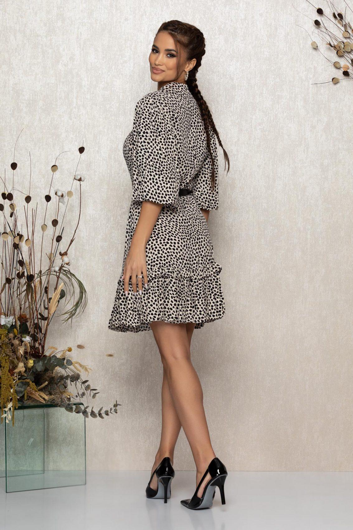 Μπεζ Animal Print Φόρεμα Debbie T347 2