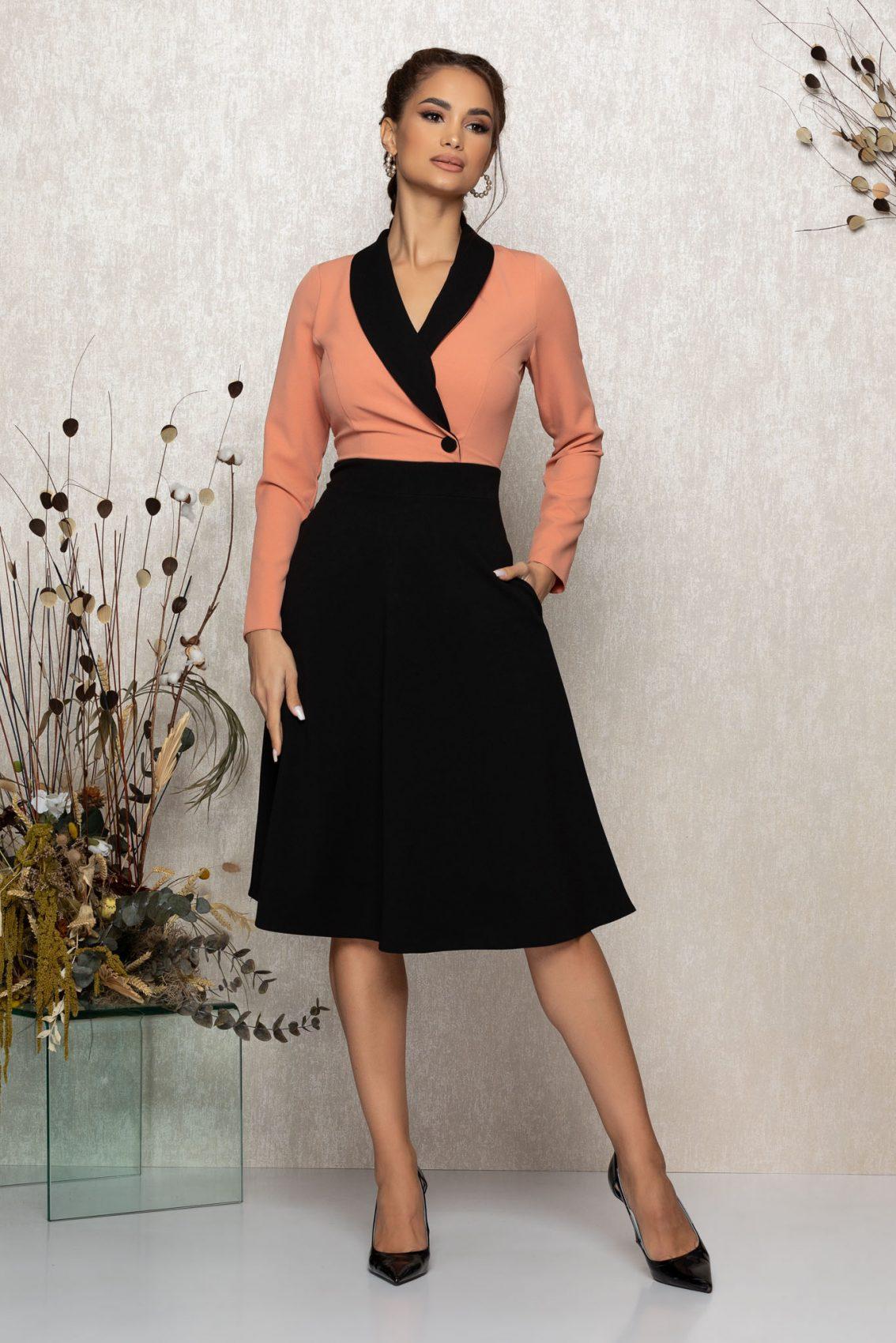 Ροδακινί Μίντι Κλος Φόρεμα Madeyra T370 1