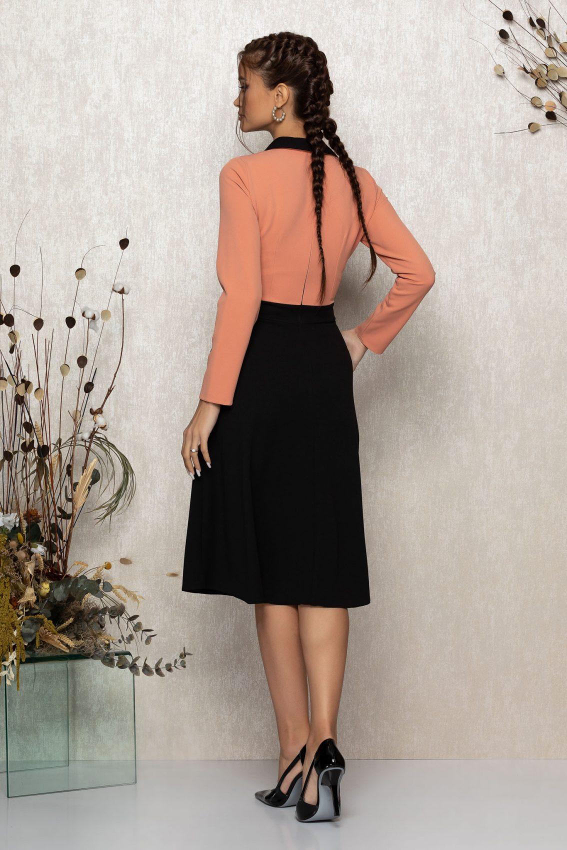 Ροδακινί Μίντι Κλος Φόρεμα Madeyra T370 2