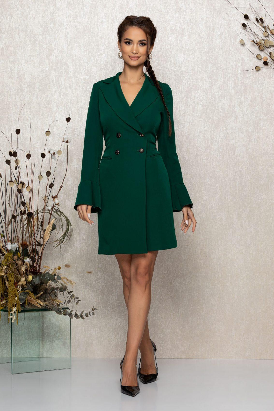 Πράσινο Μίνι Μακρυμάνικο Φόρεμα Savine T369 1