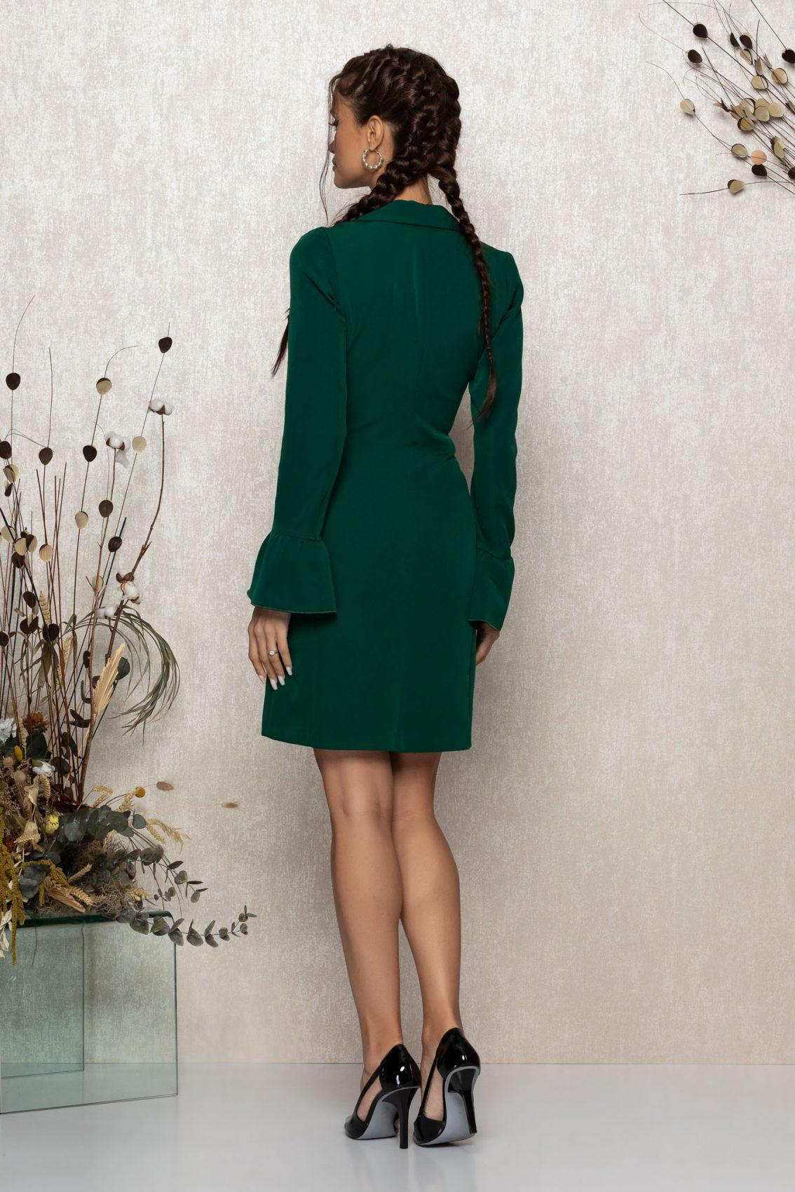 Πράσινο Μίνι Μακρυμάνικο Φόρεμα Savine T369 2