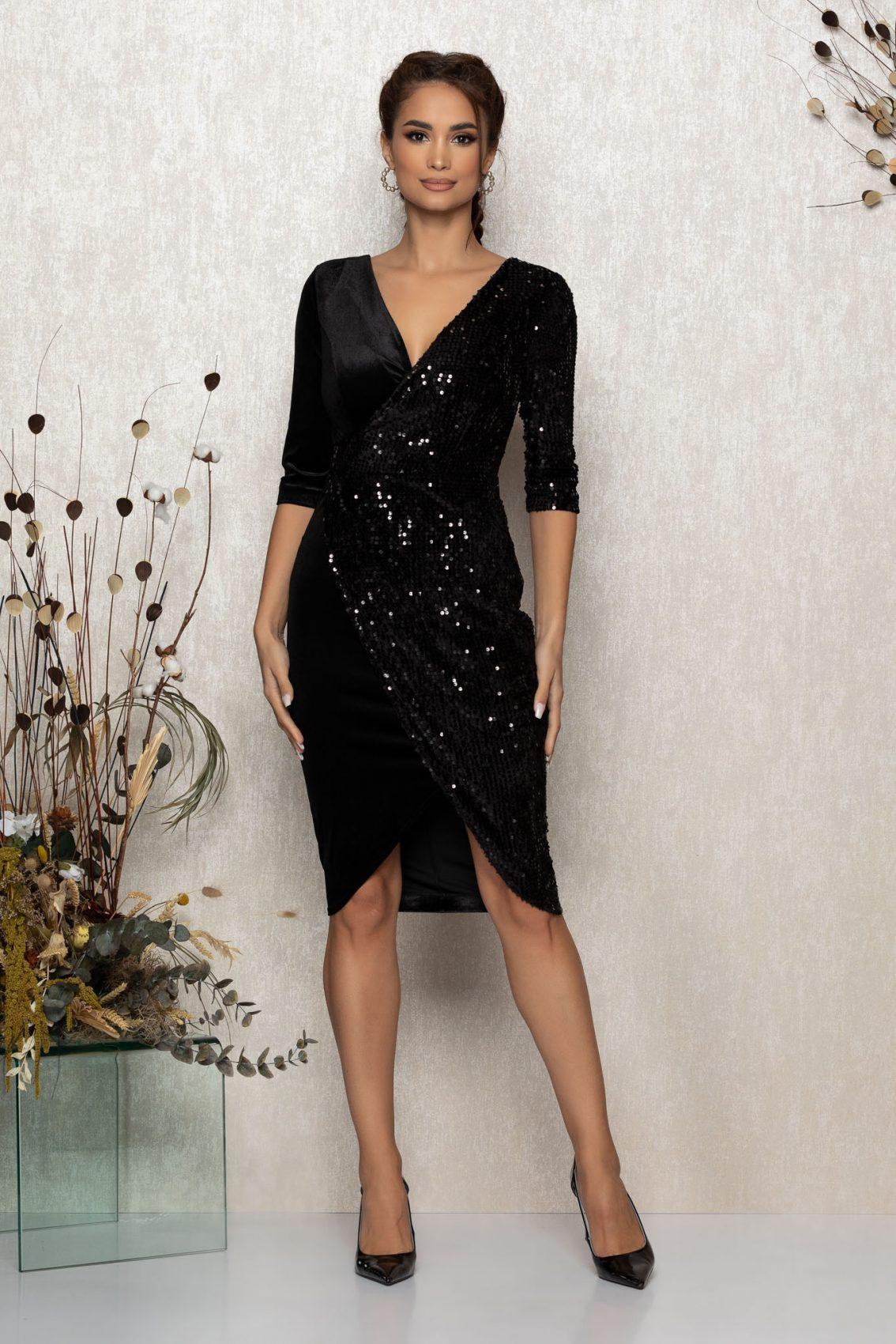 Μίντι Κρουαζέ Μαύρο Φόρεμα Από Βελούδο Sheryl T364 1