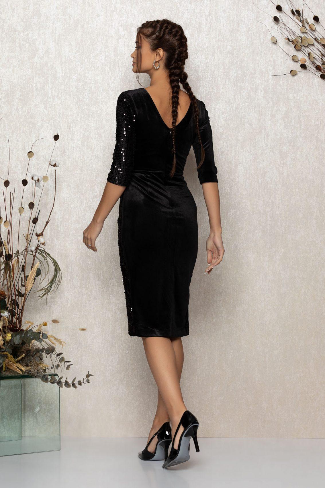 Μίντι Κρουαζέ Μαύρο Φόρεμα Από Βελούδο Sheryl T364 2