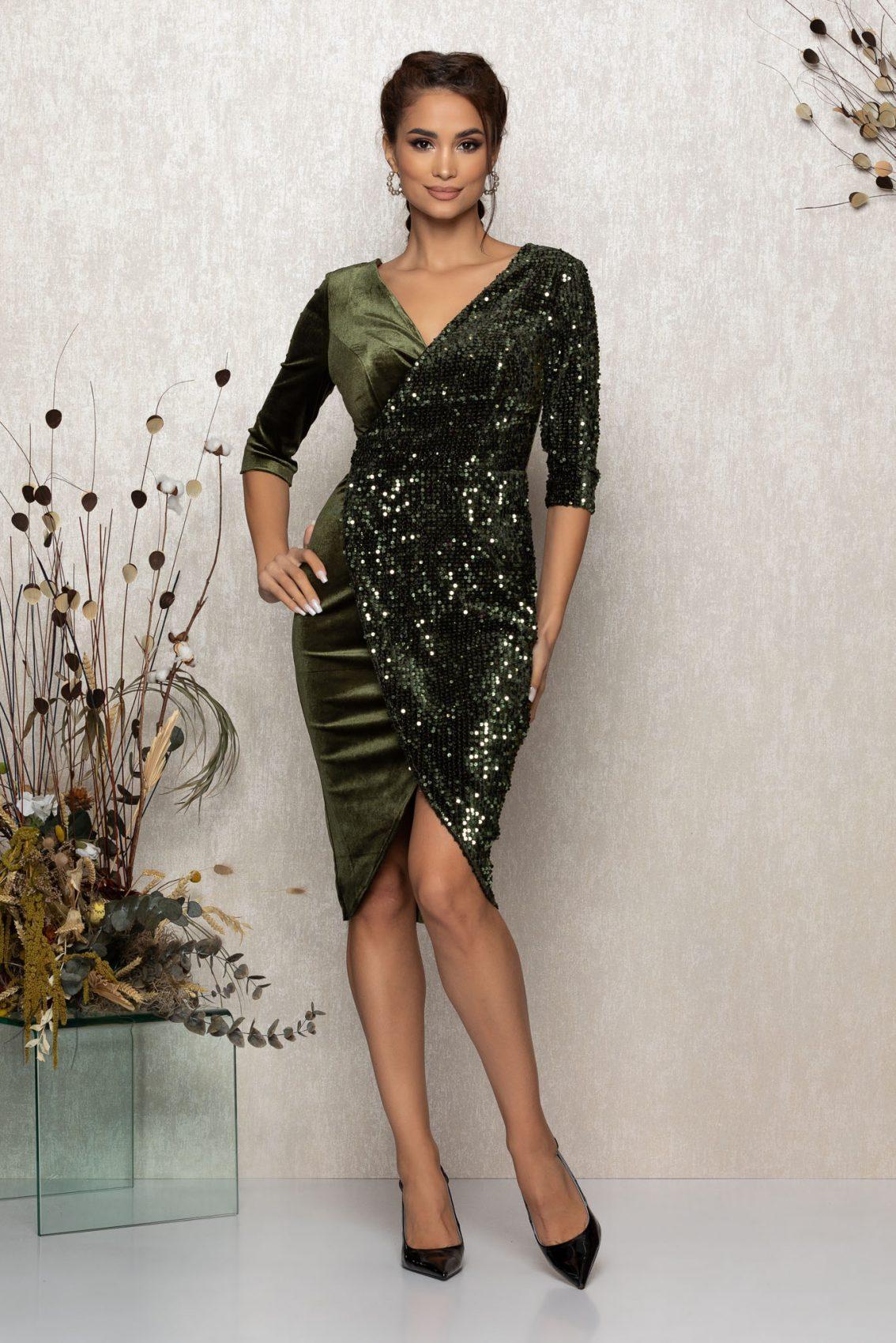 Χακί Μίντι Κρουαζέ Φόρεμα Από Βελούδο Sheryl T367 1