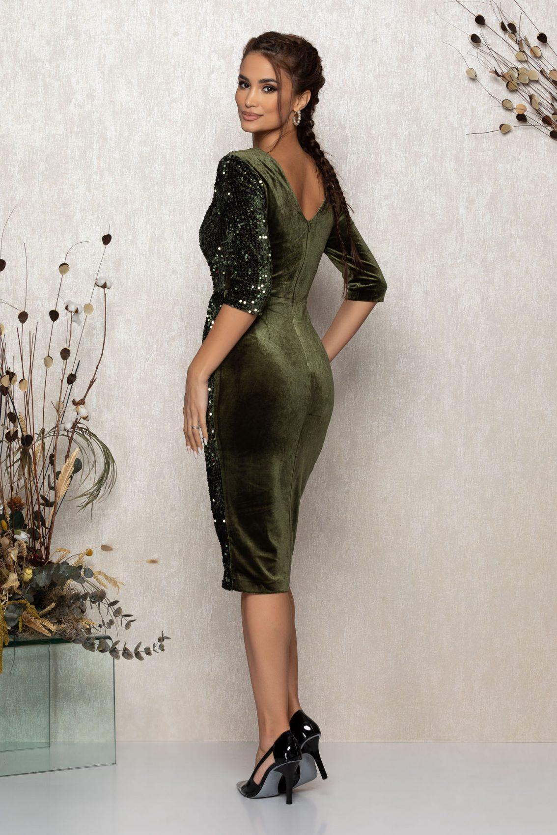 Χακί Μίντι Κρουαζέ Φόρεμα Από Βελούδο Sheryl T367 2