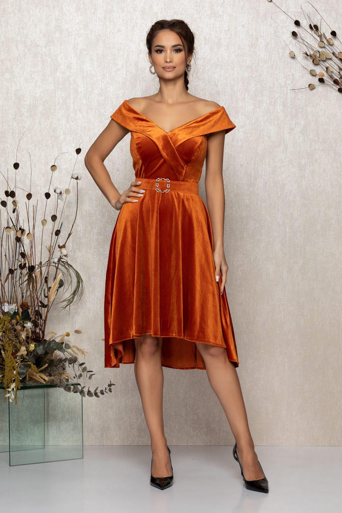 Κεραμιδί Αμάνικο Αμπιγιέ Φόρεμα Από Βελούδο Yovanna T373 1
