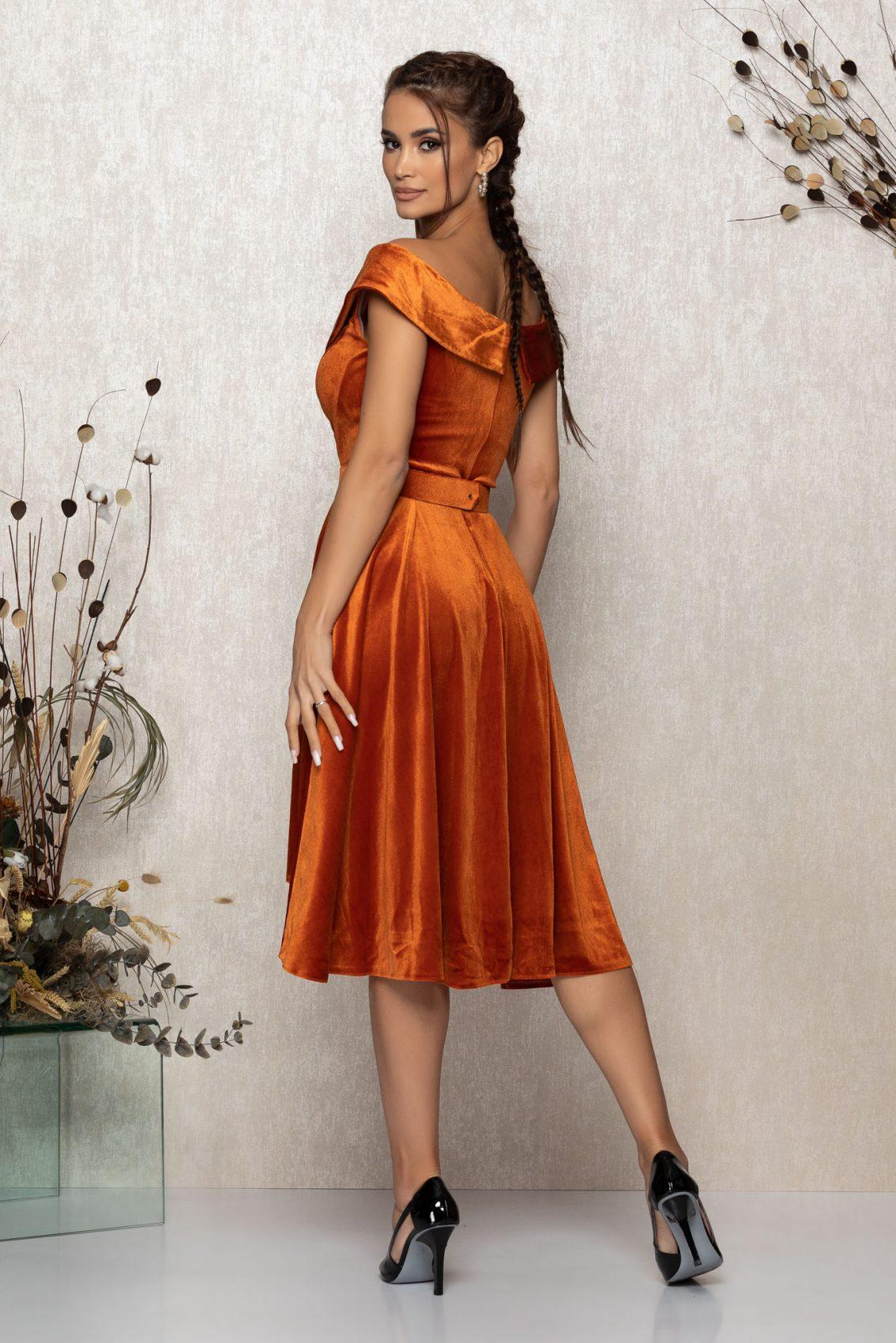 Κεραμιδί Αμάνικο Αμπιγιέ Φόρεμα Από Βελούδο Yovanna T373 2