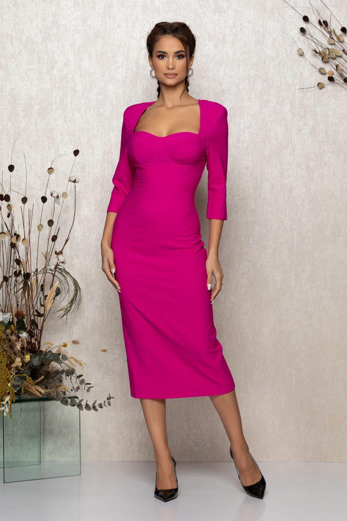 Φούξια Μίντι Βραδινό Φόρεμα Minerva T377 1