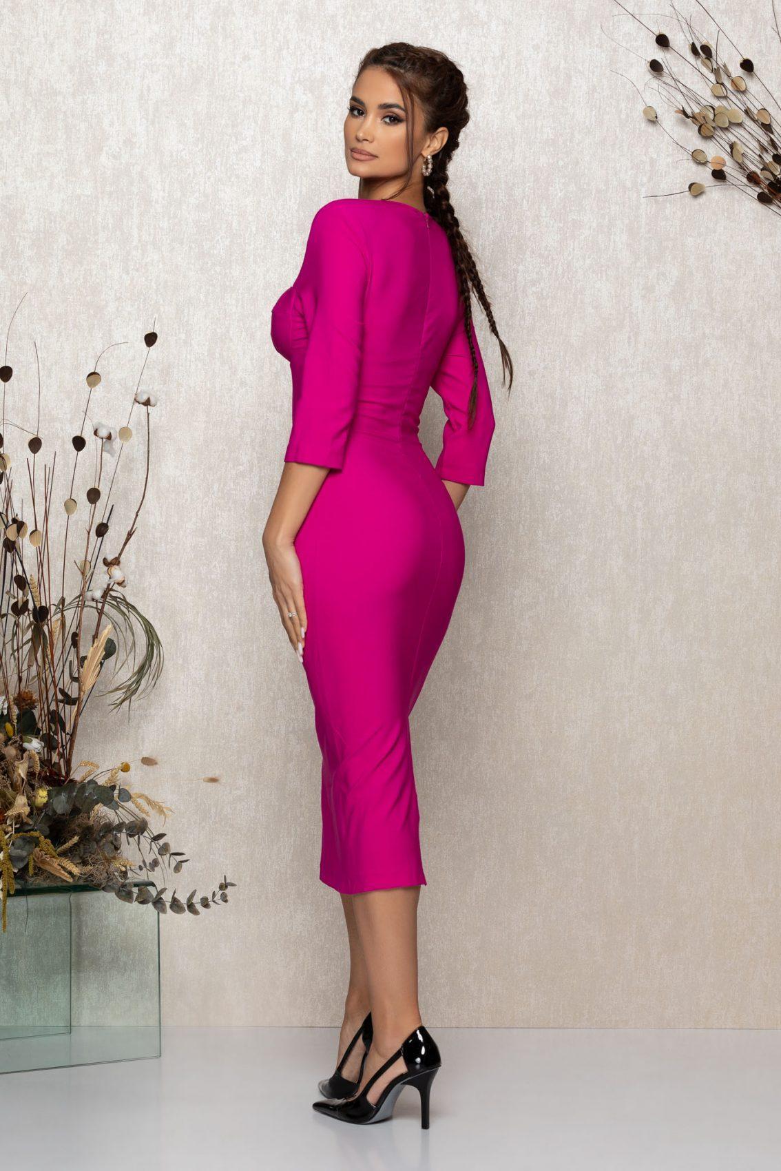 Φούξια Μίντι Βραδινό Φόρεμα Minerva T377 2