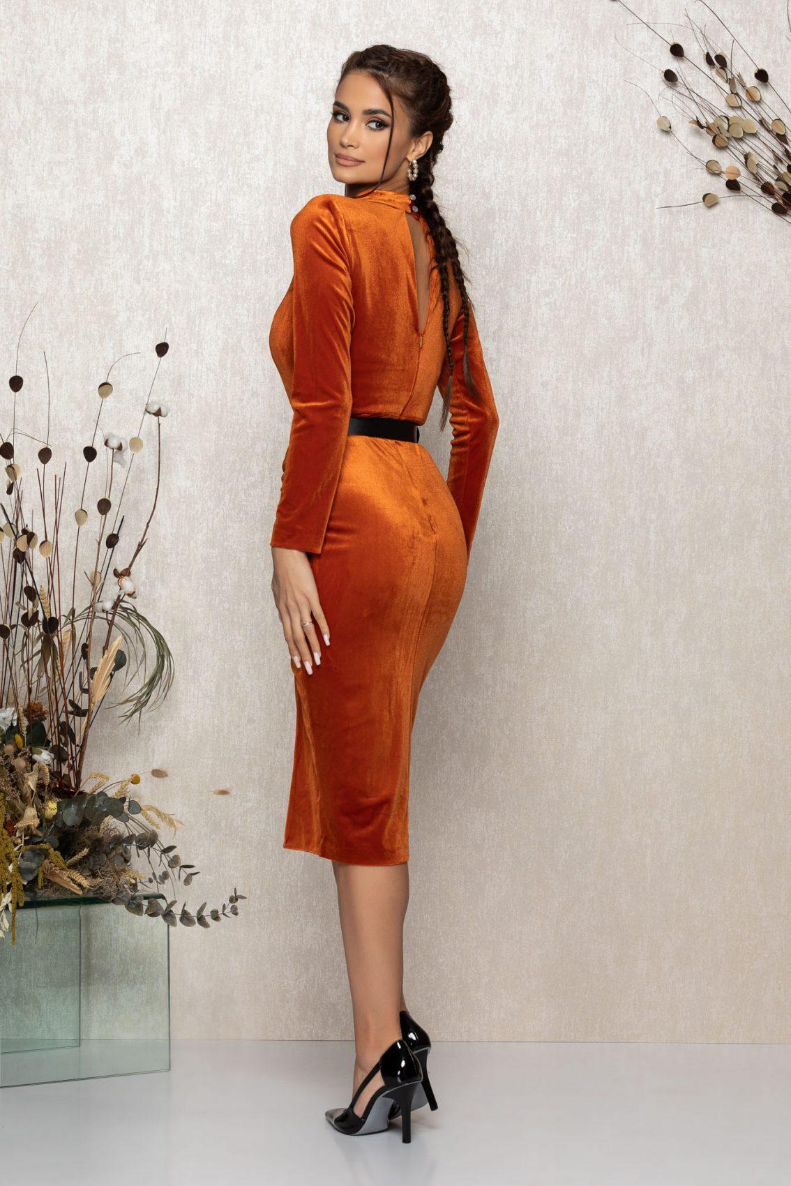 Κεραμιδί Μίντι Φόρεμα Από Βελούδο Lady T387 2