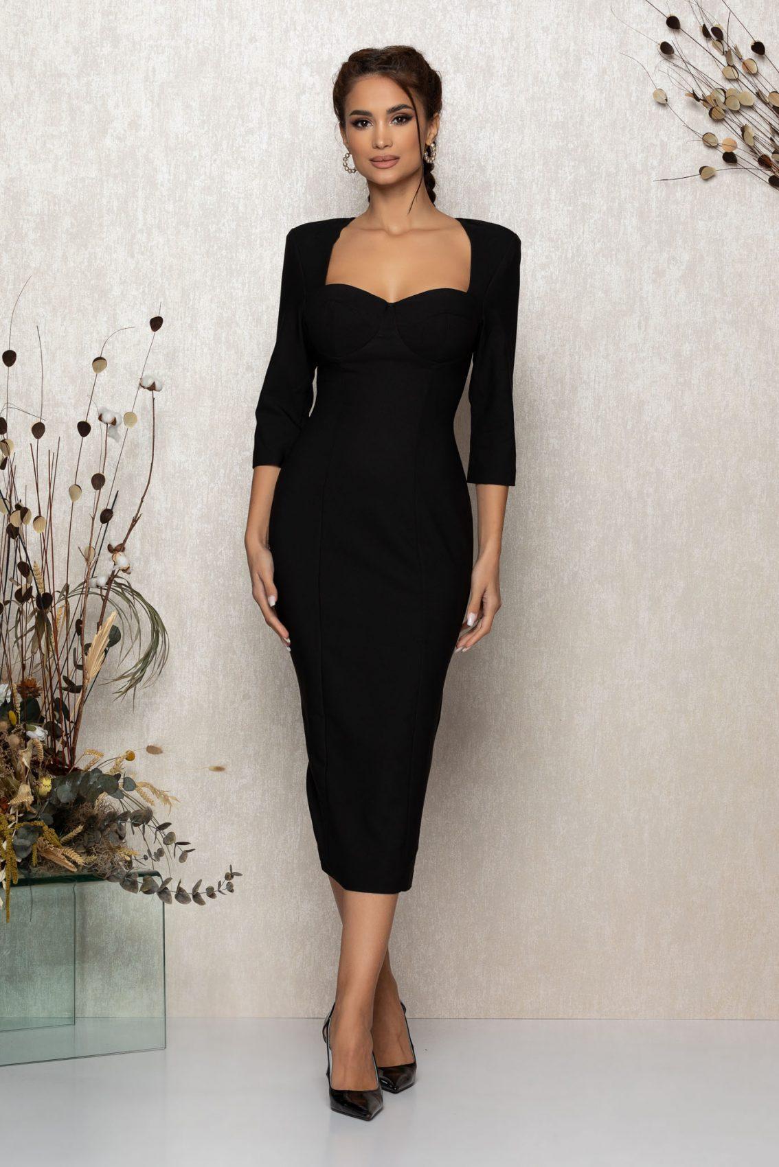 Μαύρο Μίντι Βραδινό Φόρεμα Minerva T395 1