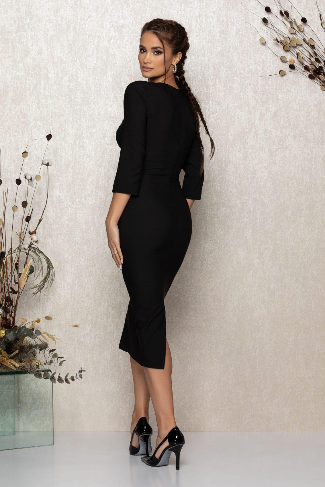 Μαύρο Μίντι Βραδινό Φόρεμα Minerva T395 2
